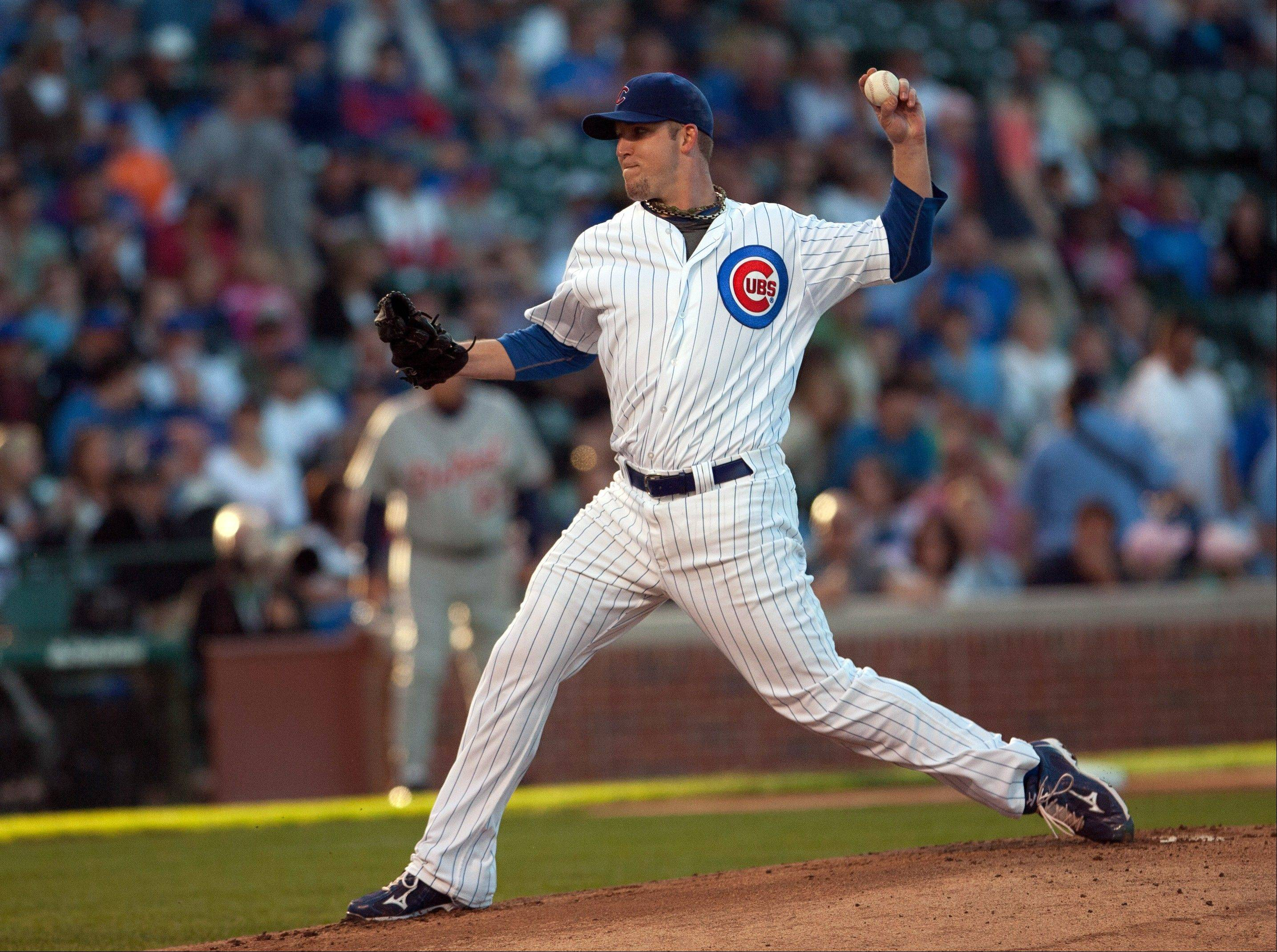 Chicago Cubs starting pitcher Paul Maholm delivers to the Detroit Tigers in the first inning Tuesday during an interleague game in Chicago.