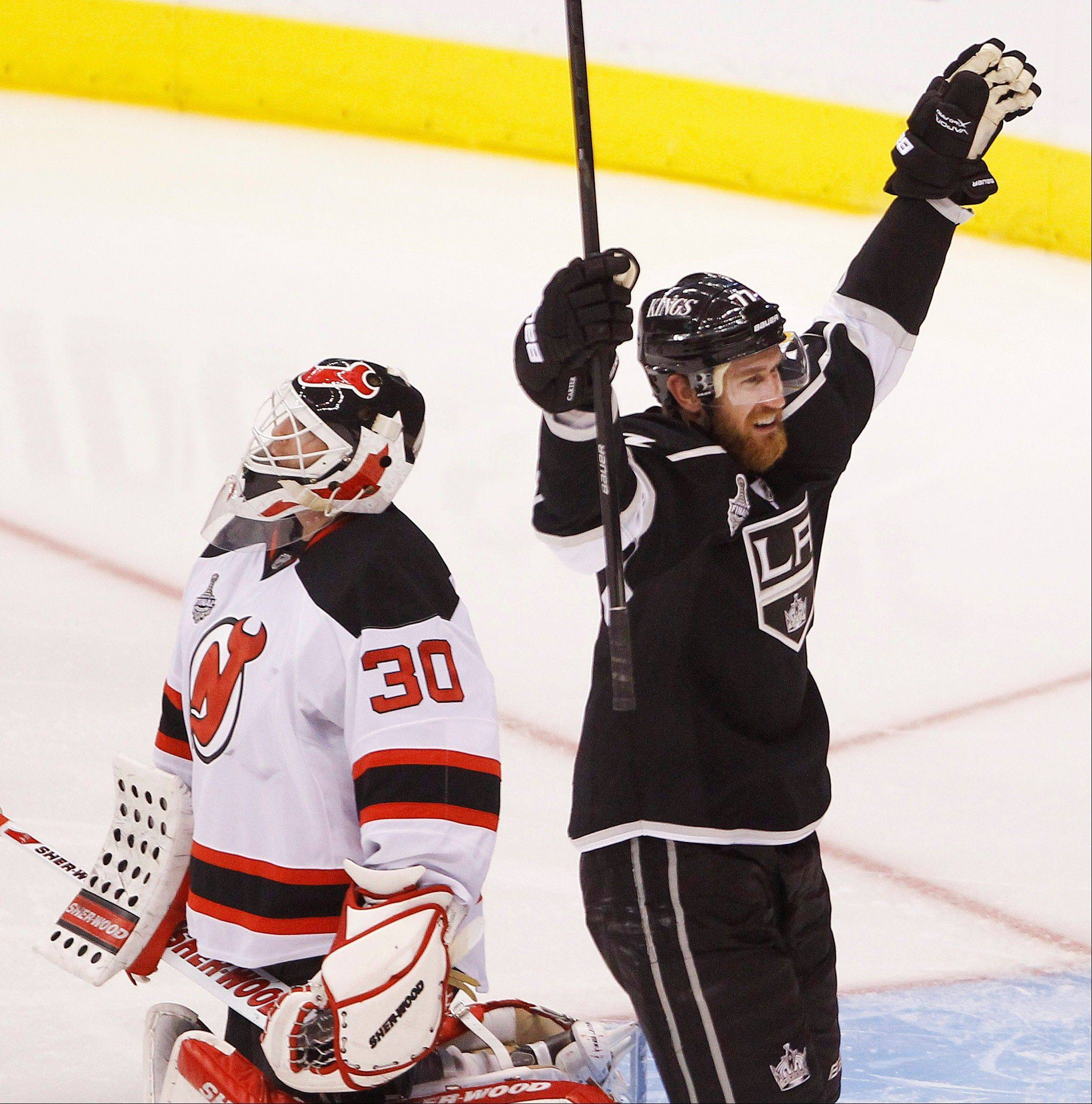 Los Angeles Kings center Jeff Carter celebrates Monday after scoring against New Jersey Devils in the second period during Game 6 of the Stanley Cup Finals.