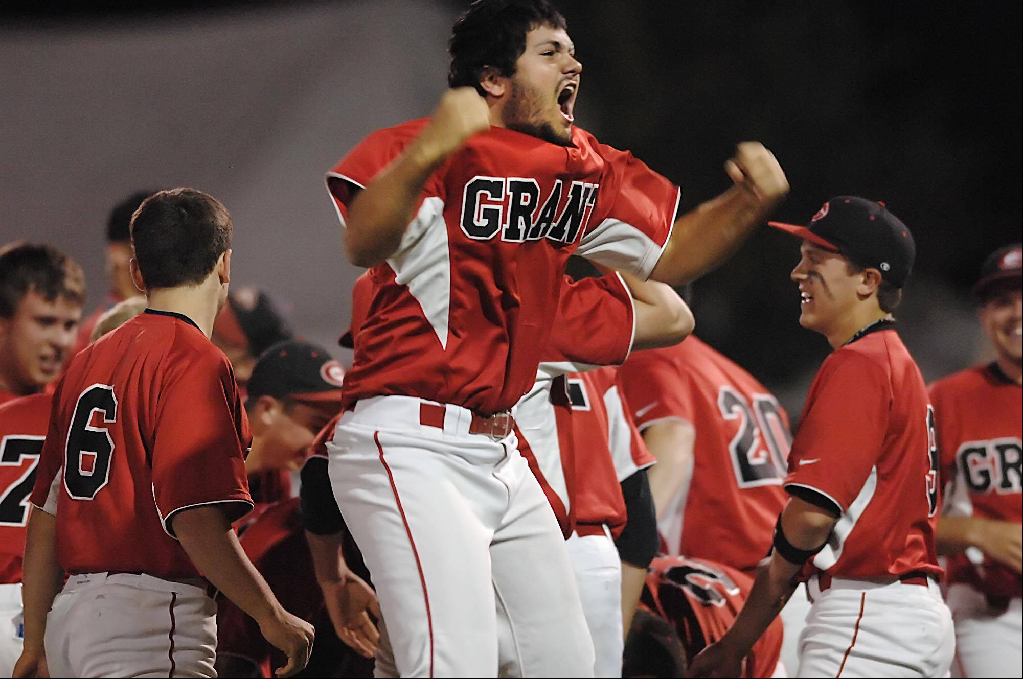 Grant's Daniel Farhat reacts after the Bulldogs shutout Schaumburg in the Rockford 4A supersectional game at Riverhawks Stadium Monday.