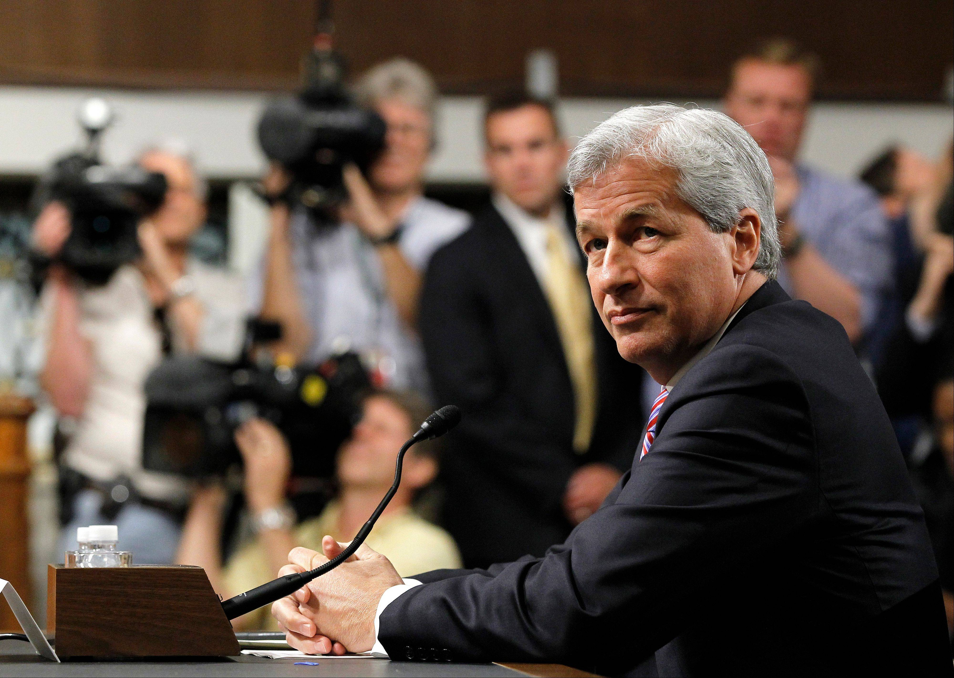 JPMorgan Chase CEO Jamie Dimon, head of the largest bank in the US, prepares to testify on Capitol Hill in Washington, Wednesday, June 13, 2012, before the Senate Banking Committee about how his company recently lost more than $2 billion on risky trades and whether its executives failed to properly manage those risks.