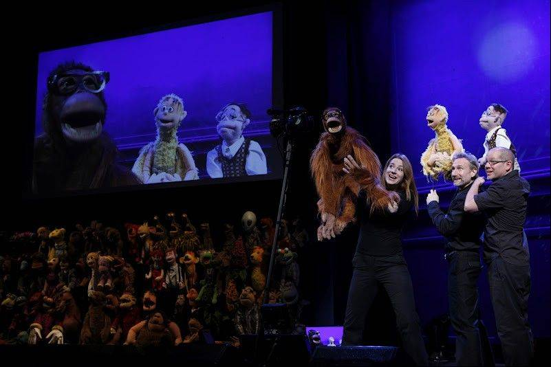 "Colleen Smith, Brian Henson and Ted Michaels manipulate puppets in the adults-only show ""Stuffed and Unstrung,"" which plays the Bank of America Theatre in Chicago now through Sunday, June 17."