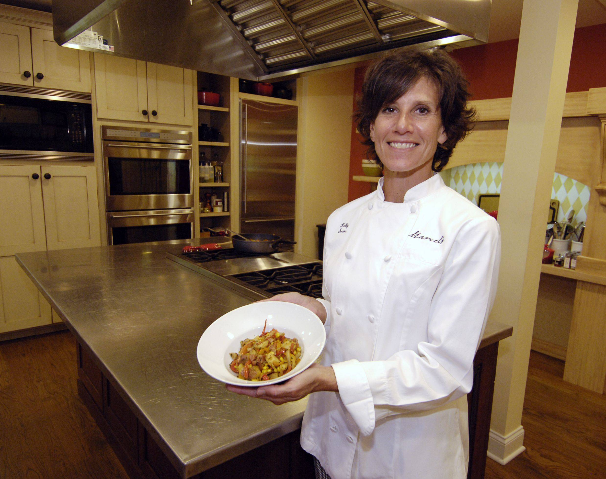 Chef Kelly Sears says this Corn Saut� with Pancetta, Potatoes and Peppers can be tweaked to reflect what's in season and what's in your pantry. Sears coordinates cooking classes at Marcel's Culinary Experience in Glen Ellyn.