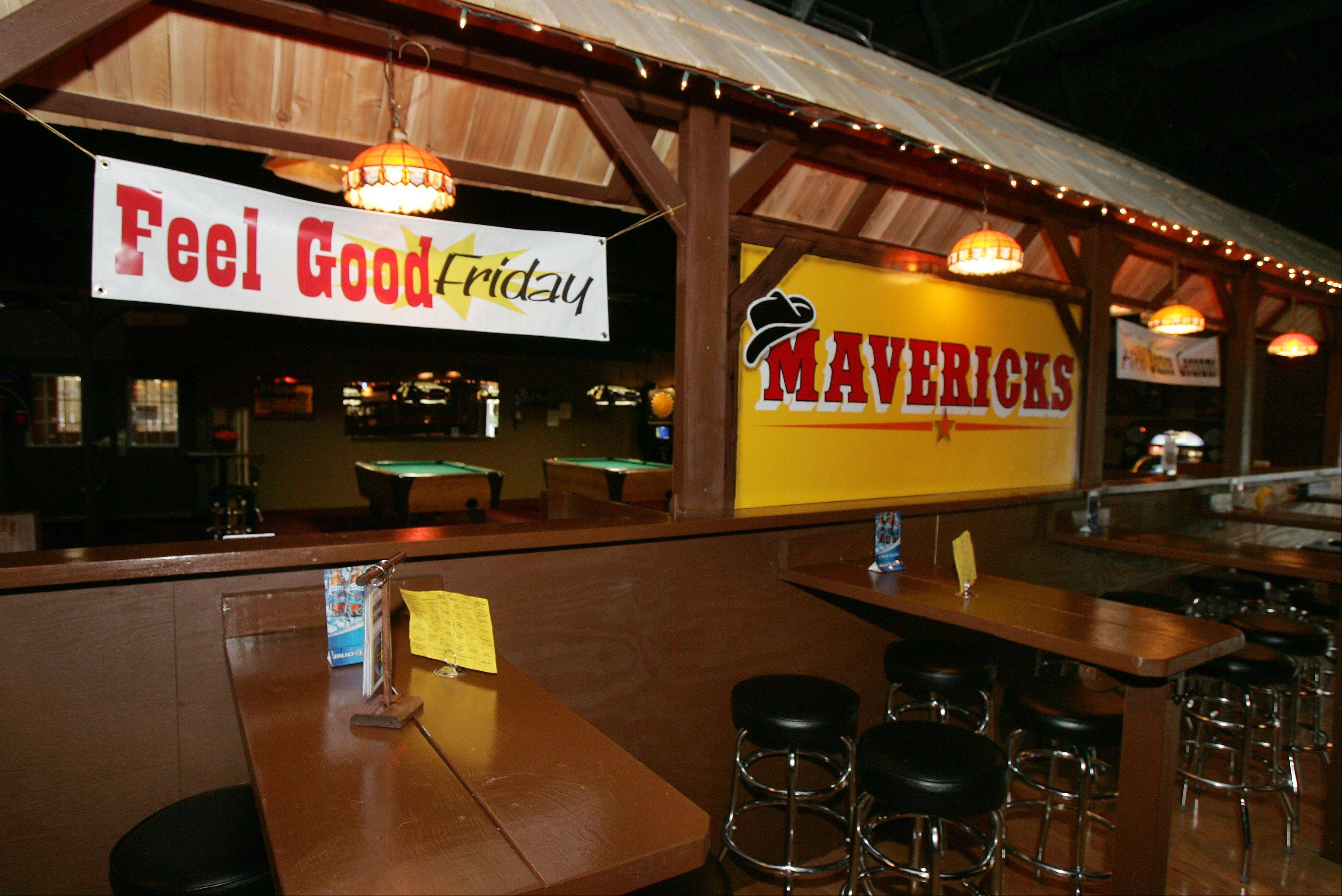The decor matches the name at Mavericks in Mundelein.