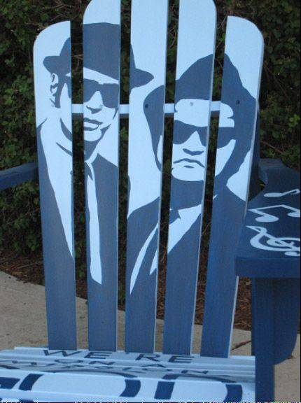 An Adirondack chair depicting the Blues Brothers was stolen over the weekend from outside a downtown Wauconda business. It is one of 15 painted chairs placed in the village two weeks ago as part of the Art on Main initiative to raise money for downtown beautification.