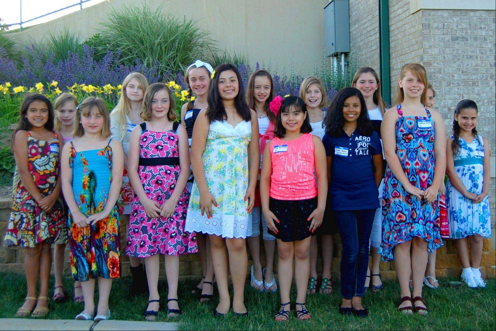 The contestants in the Junior Miss Grant Township 2012 Pageant: Mikayla Earl, Desiree Frank, Karissa Fischer, Kathia Hernandez, Frida Hernandez, Chloe Hirth, Destinee Longtin, Laela Manlick, Sydney Rondle, Gabriela Schoenberg, Taylor Schweiss, Lyrik Stay, Samantha Thibault, Genevieve Torrey and Kayla Weigand; not pictured: Requel Young.