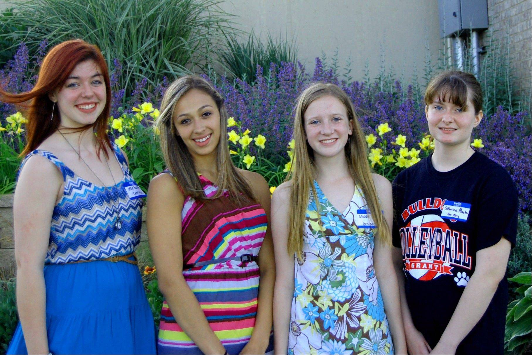 The contestants in the Teen Miss Grant Township 2012 Pageant: Jessie Burdette, Maryah Dominguez, Maddie Hendrickson and Catherine Mauter.