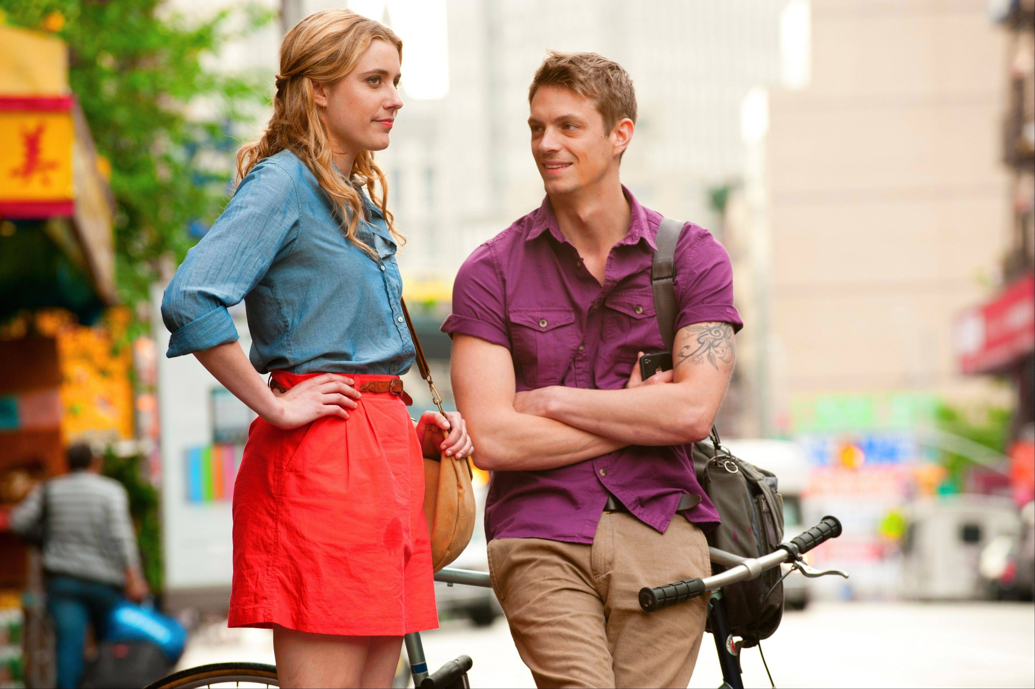 "Lola (Greta Gerwig) converses with her pal (Hamish Linklater) in the non-rom com feature ""Lola Versus."""