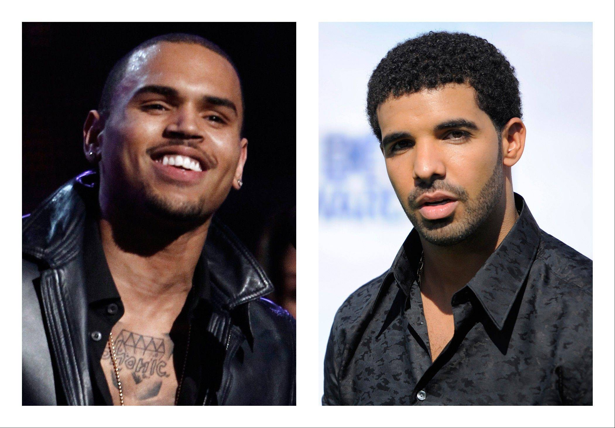 New York City police investigated a report Thursday of a bar brawl involving hip-hop stars Chris Brown, left, and Drake and their entourages in which bottles flew and five people were injured.