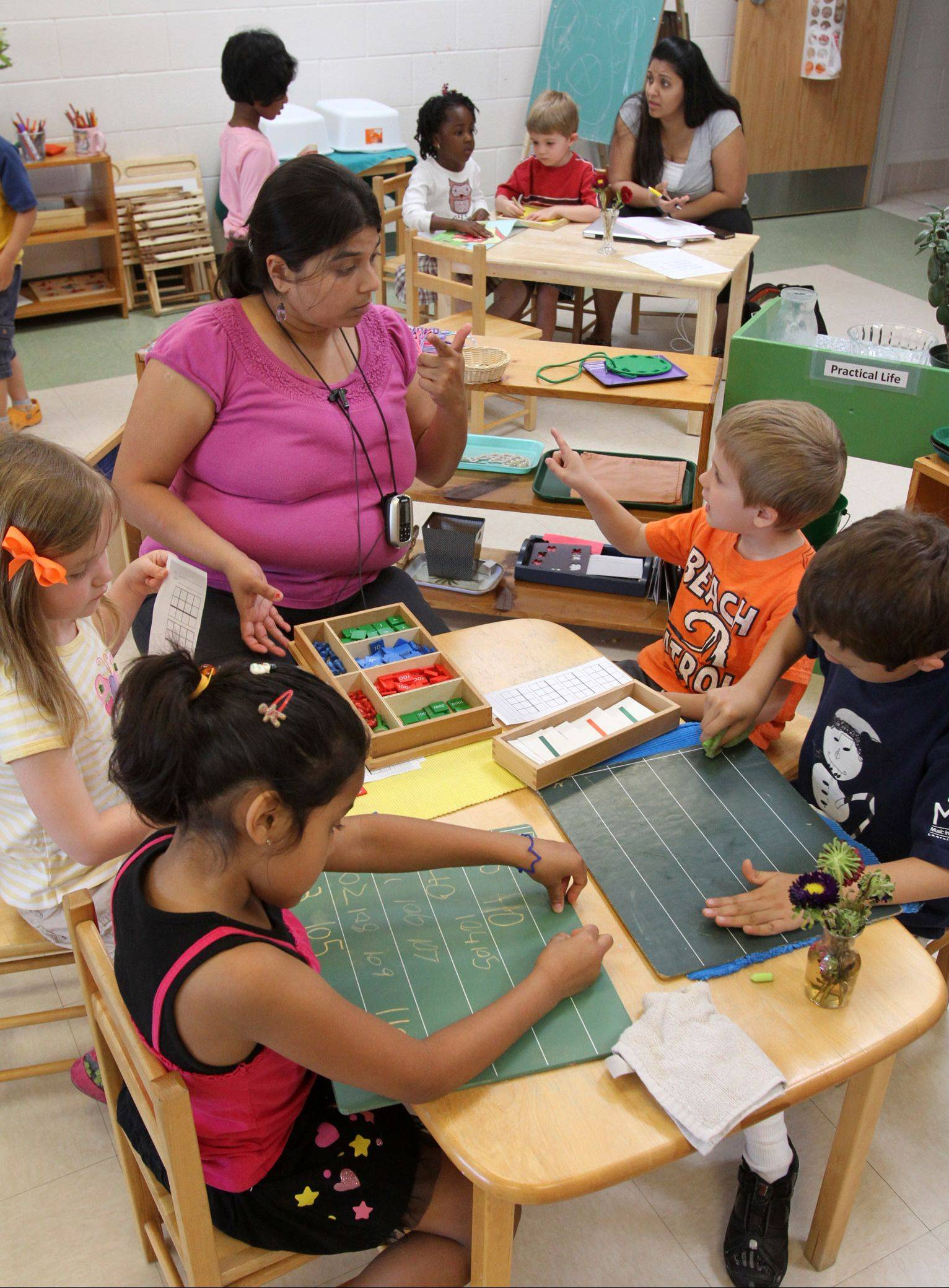 Bharini Shah, directs 3-to 6-year-old students at the Montessori school in Wheeling. Classrooms for 3-to 6-year-olds are the most popular at the school.