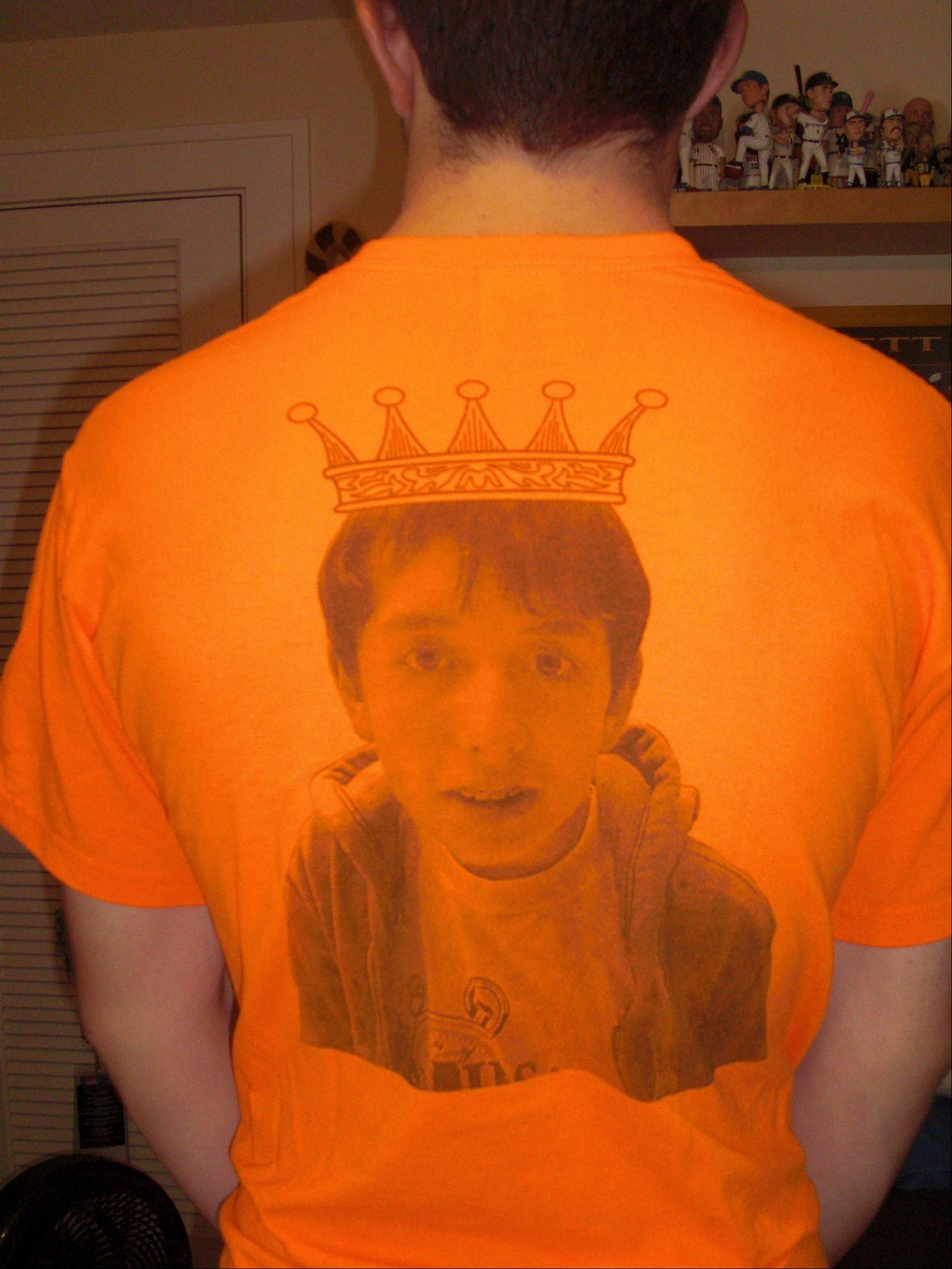 Joe Sessions' best friend, Austin Menzia, sold 200 T-shirts to Hersey High School students to support his bid for Homecoming King. One side of the shirt features a younger Joe with a Photoshopped crown on his head.