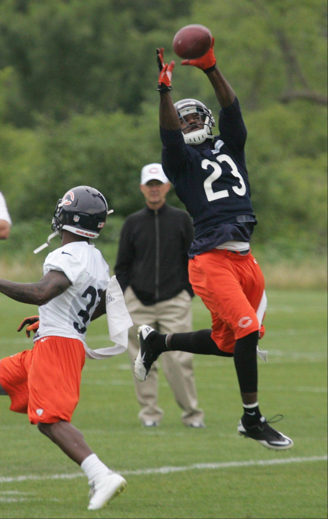 Wide receiver Devin Hester goes up for an acrobatic catch during the Chicago Bears minicamp Wednesday at Halas Hall in Lake Forest. Hester is still expected to play a significant role on special teams as a returner.