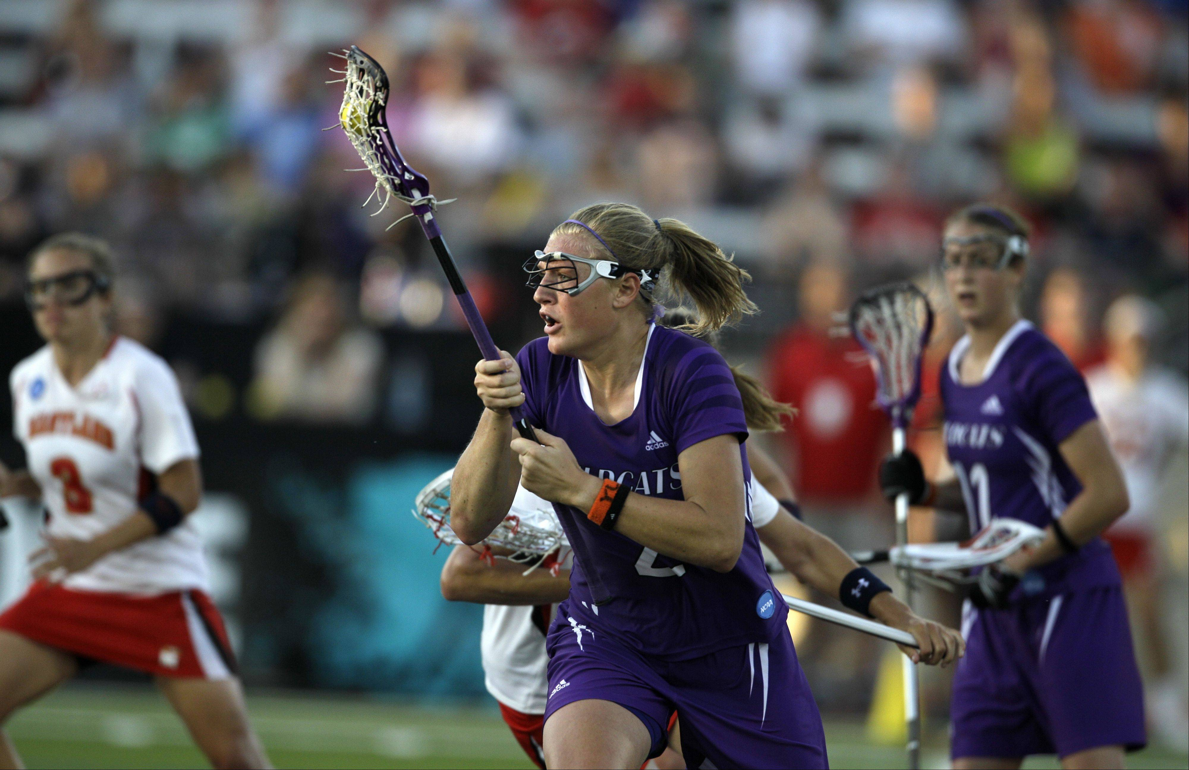Danielle Spencer, center, is returning to Northwestern to serve as an assistant coach under NU lacrosse head coach Kelly Amonte Hiller.