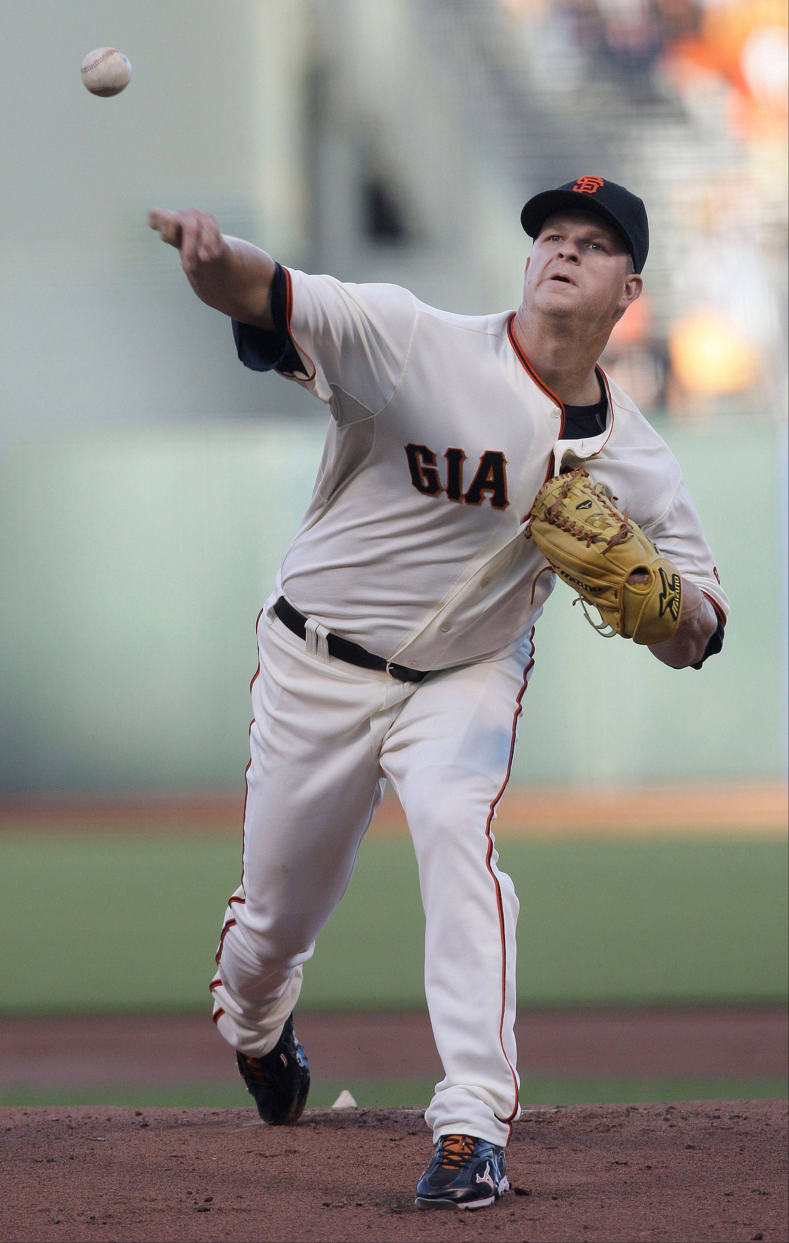 San Francisco Giants pitcher Matt Cain delivers against the Houston Astros Wednesday during the first inning.