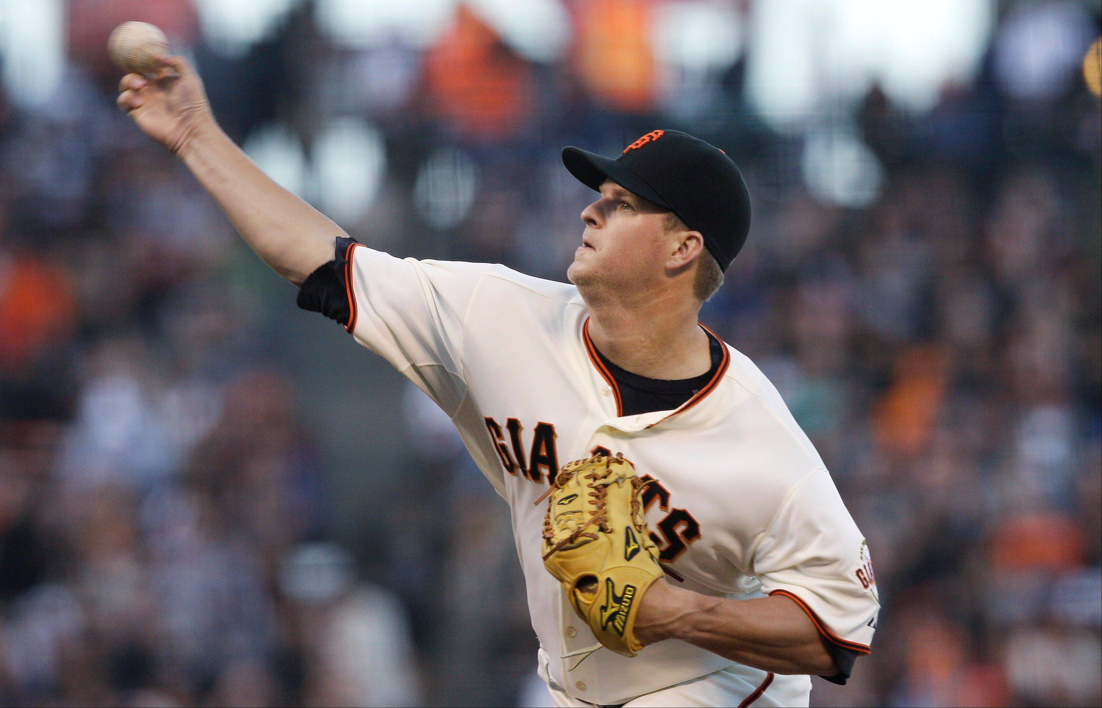 San Francisco Giants pitcher Matt Cain delivers against the Houston Astros Wednesday during the third inning.