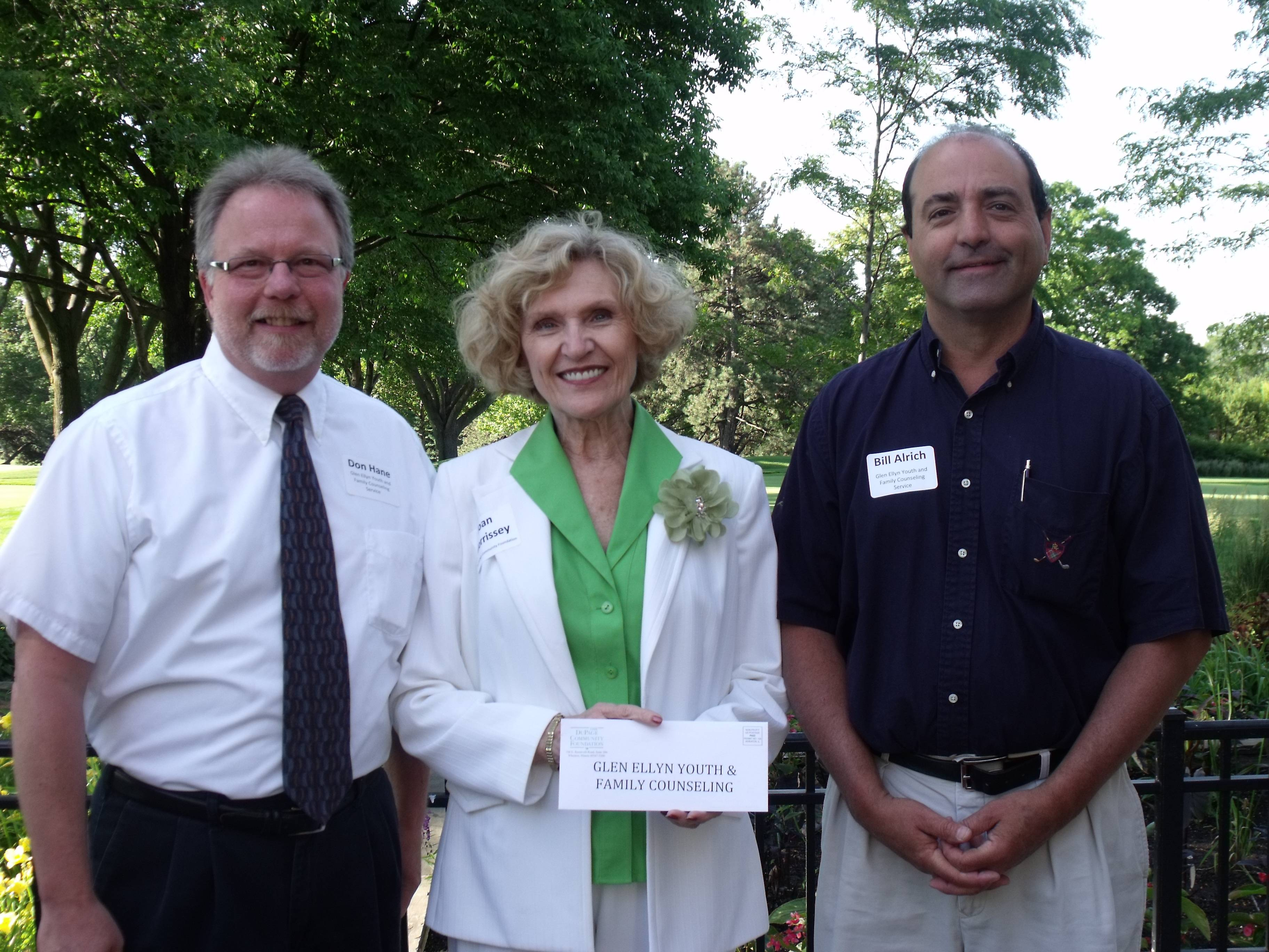 From left to right, Don Hane, Executive Director, GEYFCS, Joan Morrissey, Foundation Trustee and Grant Committee Chair and Bill Alrich, GEYFCS Board Vice President