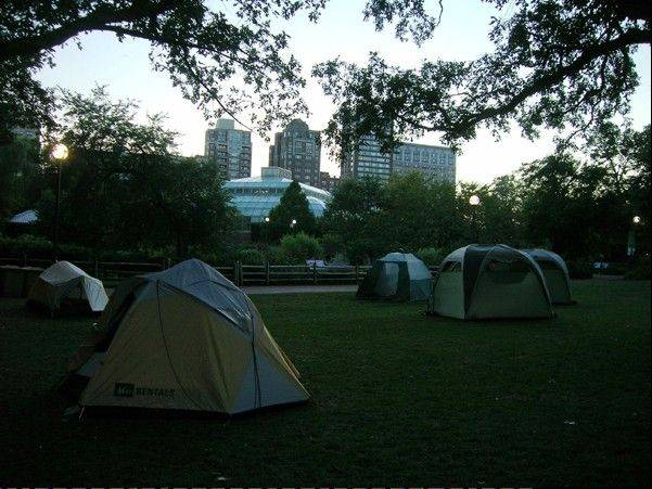 Families can sleep in tents on the grounds of Lincoln Park Zoo during Sleep Under the Skyscrapers family campouts this summer.