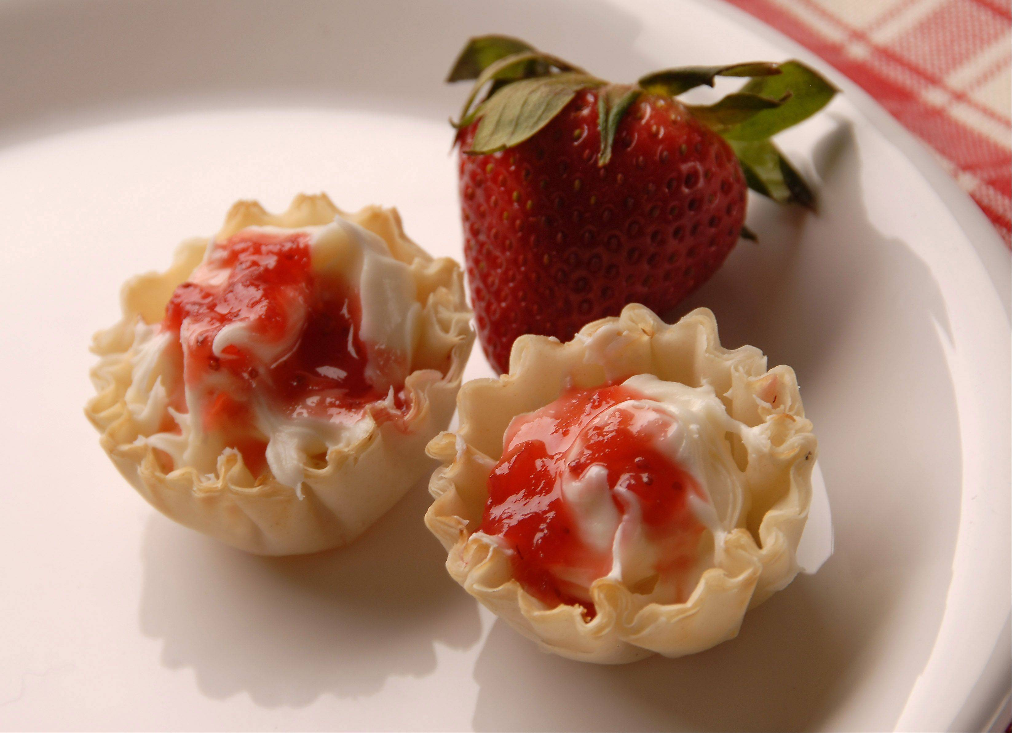 Mini-tarts with strawberry jam.