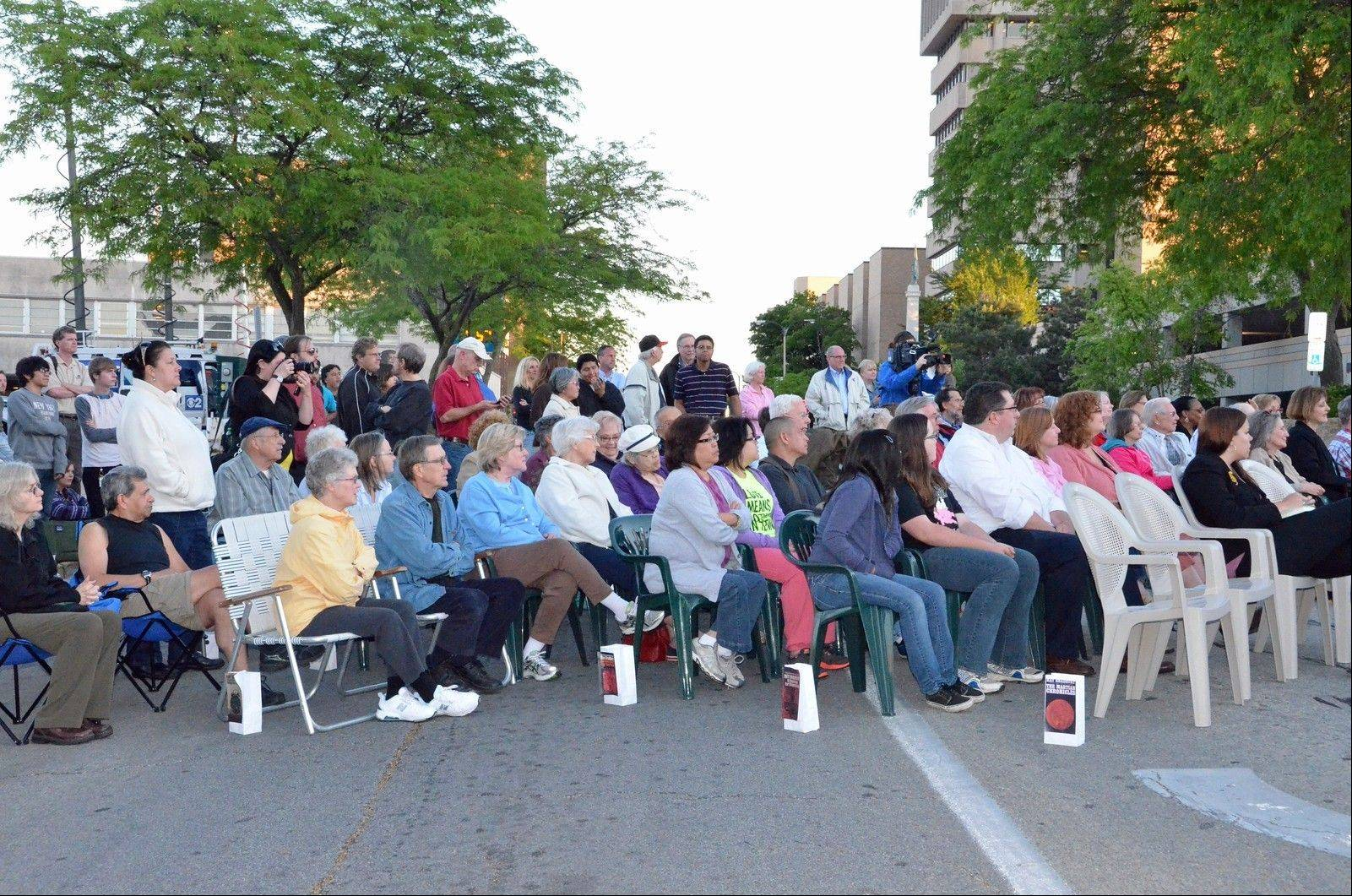 A crowd assembles to hear Ray Bradbury stories and a tribute on June 6.