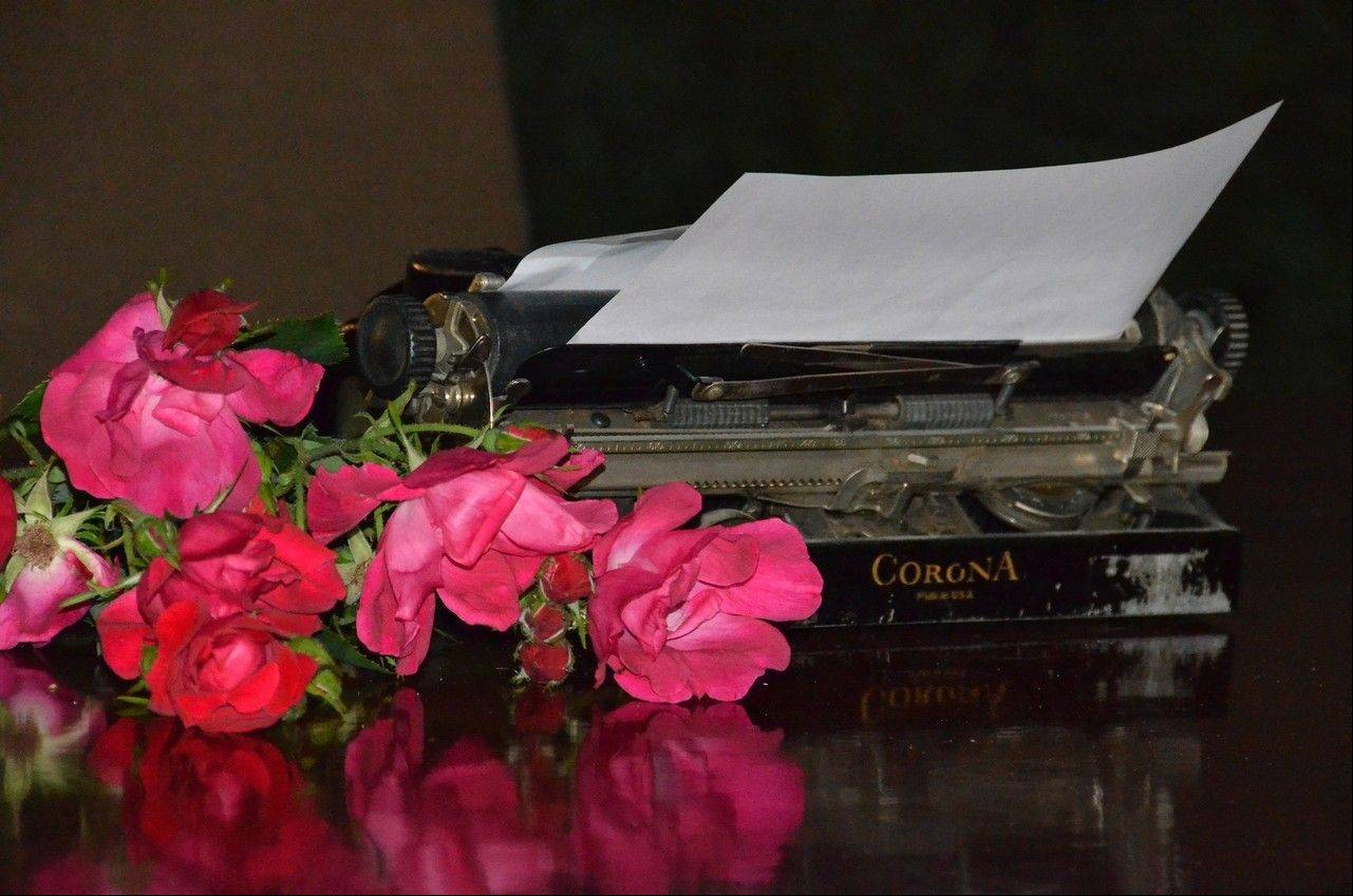 After the service, a fan placed roses near an old Smith Corona typewriter memorializing Bradbury's creative process.