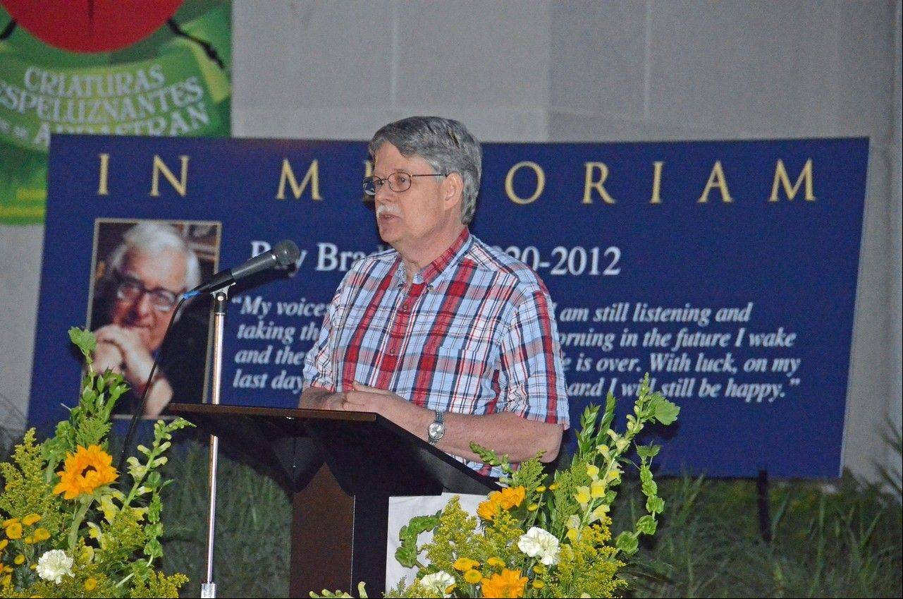 Bradbury's friend Wayne Munn reminisces about the author at the memorial tribute.