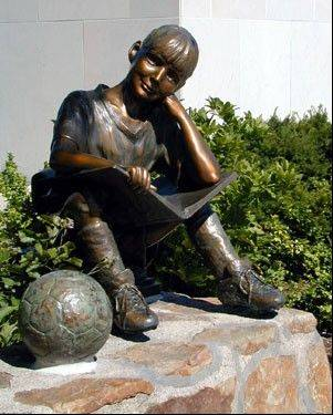 "The bronze statue ""Imagine That"" was stolen from the Waukegan Library's courtyard during the overnight hours of May 29-30. The statue was sold to a scrap yard in Chicago, according to police."