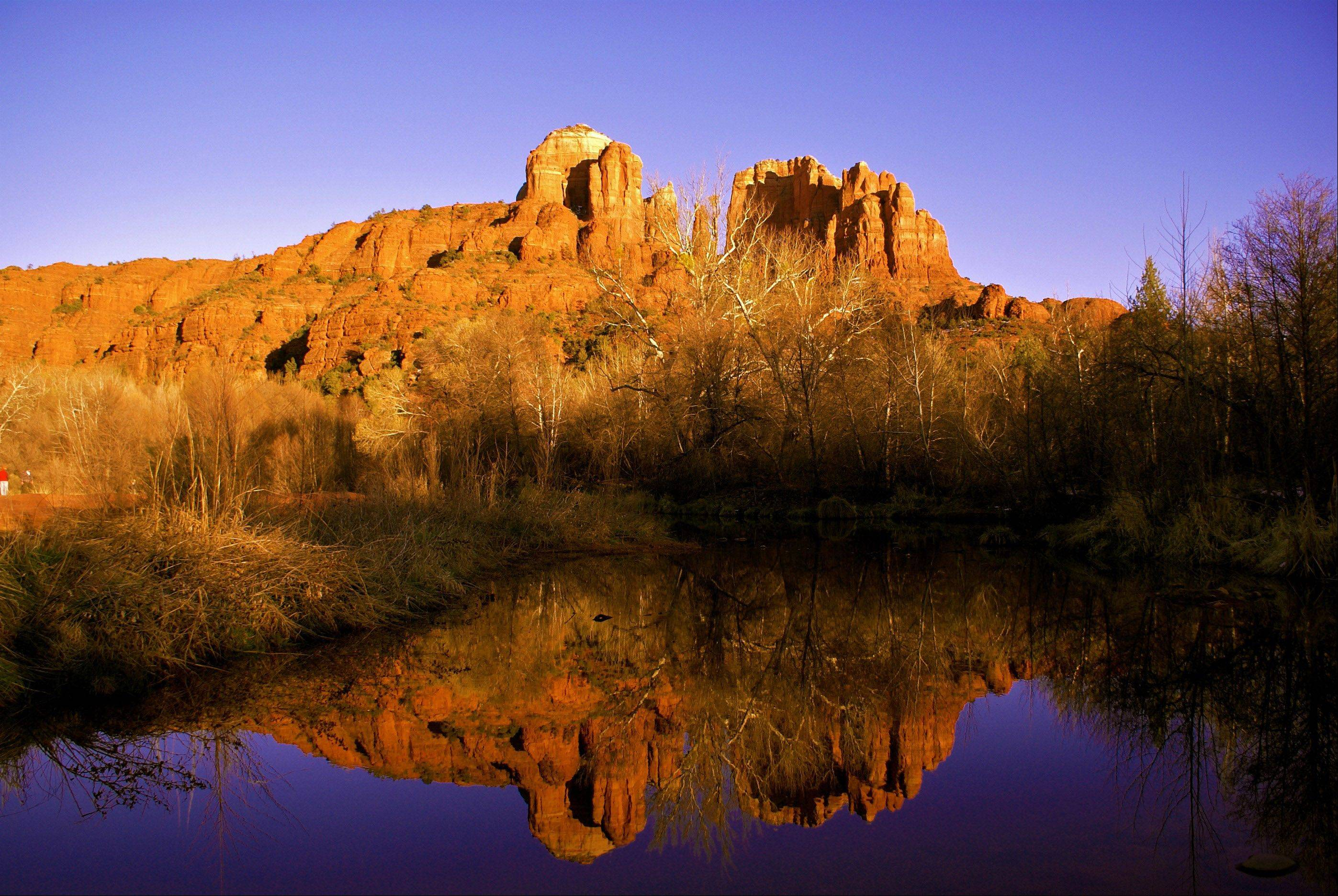 A reflection in a lake of Cathedral Rock in Sedona, AZ last March.