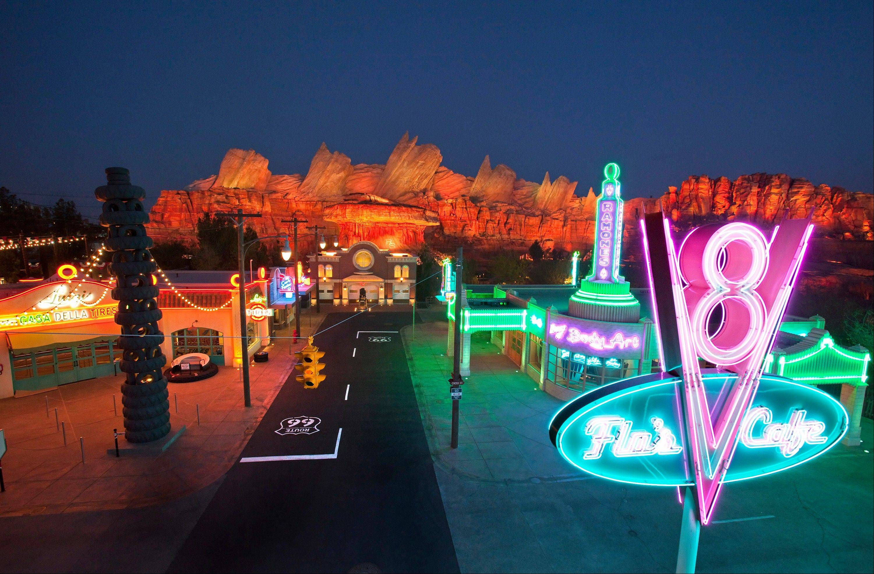 "The new 12-acre Cars Land at Disney California Adventure park at Disneyland Resort is a replica of Radiator Springs, the town in the popular ""Cars,"" film franchise."