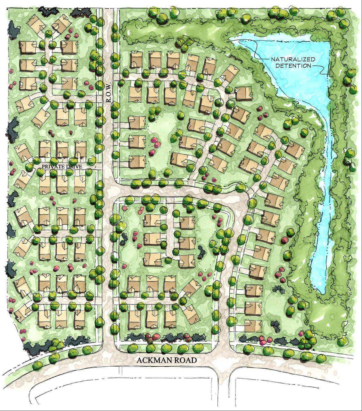 This map shows the 86 ranch-style houses for active seniors that Ryland Homes wants to build within the Talamore subdivision. The Huntley village board is expected to vote on Ryland's final plan in July.