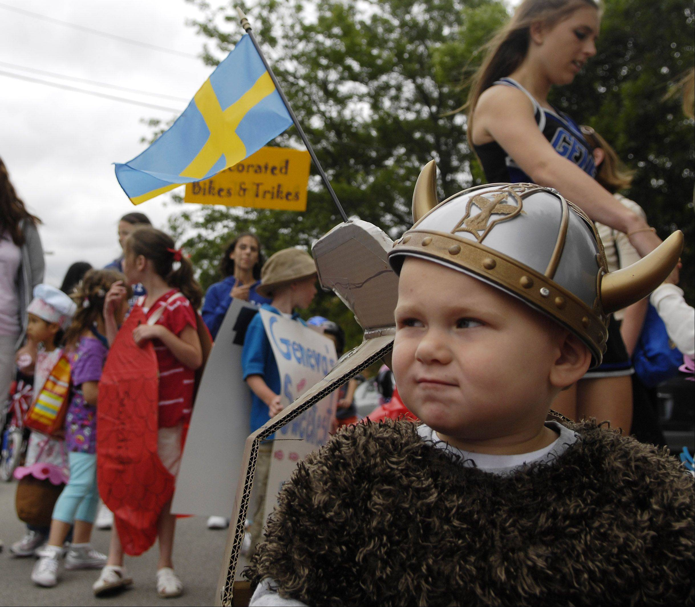 Jaxon Rogers, 2, of Geenva waits for the fun to begin during the kids parade at last year's Swedish Days in Geneva.