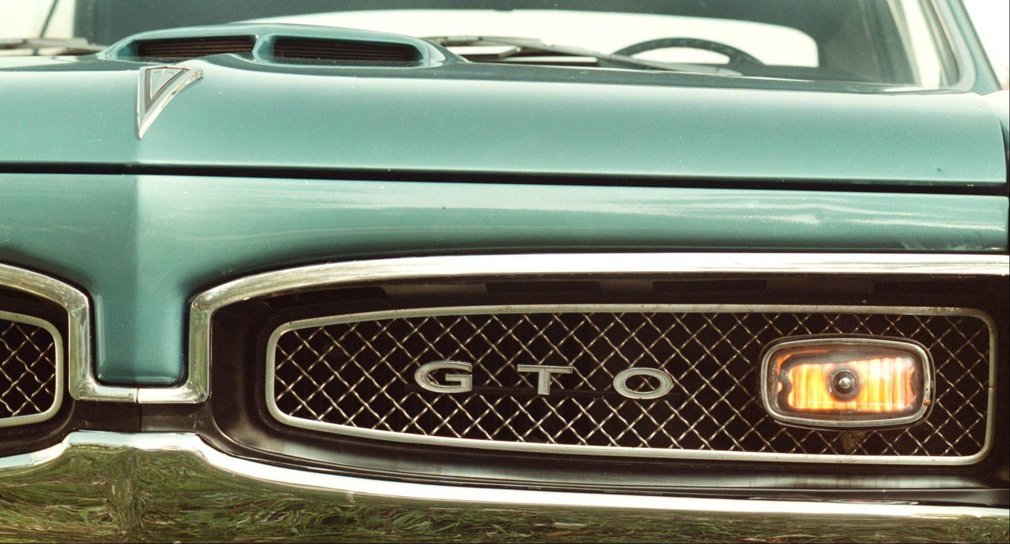 The hood ornament of a 1967 Pontiac GTO in Sturtevant, Wis.