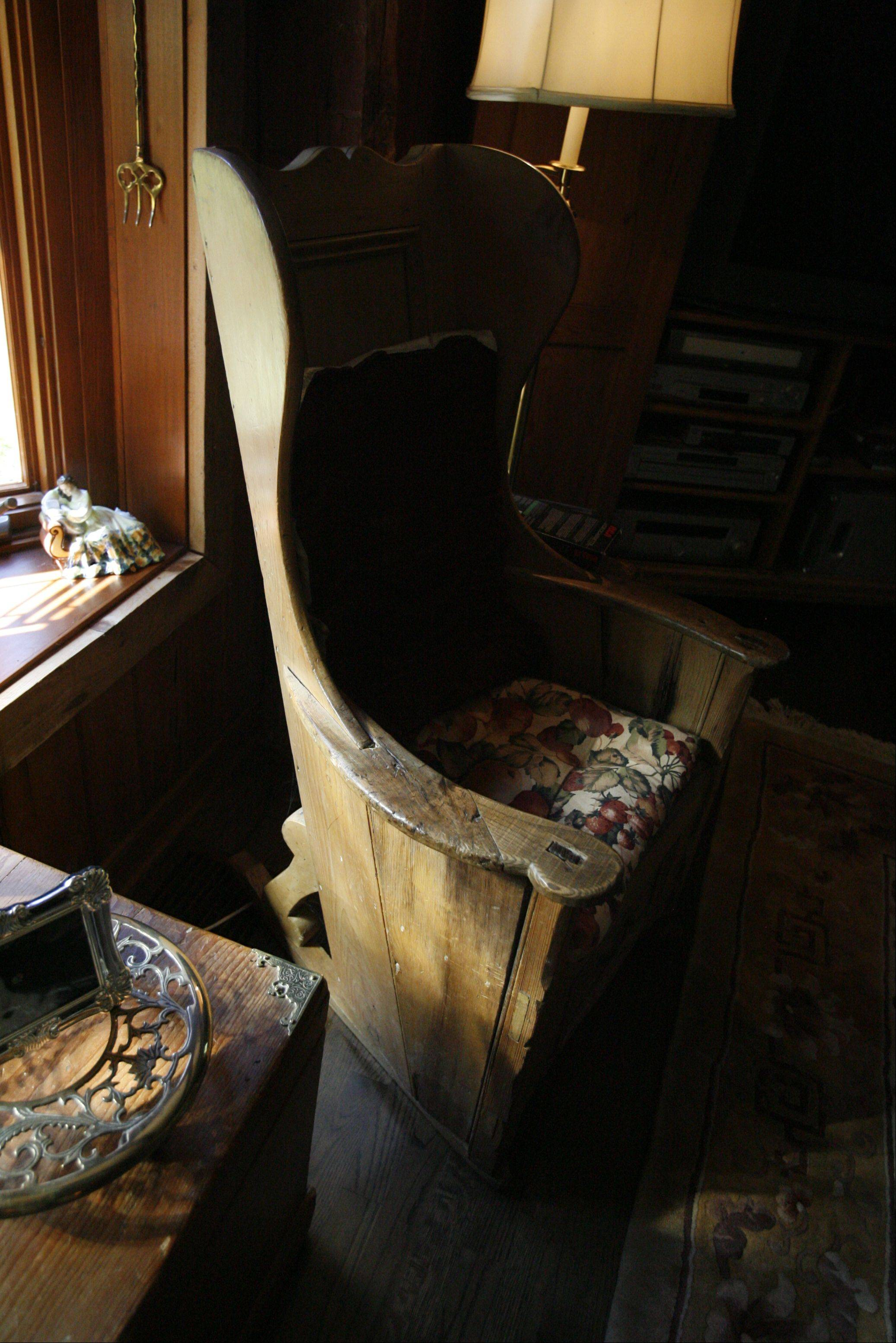 Patricia and Kenneth Rockett's antiques include a lambing chair.