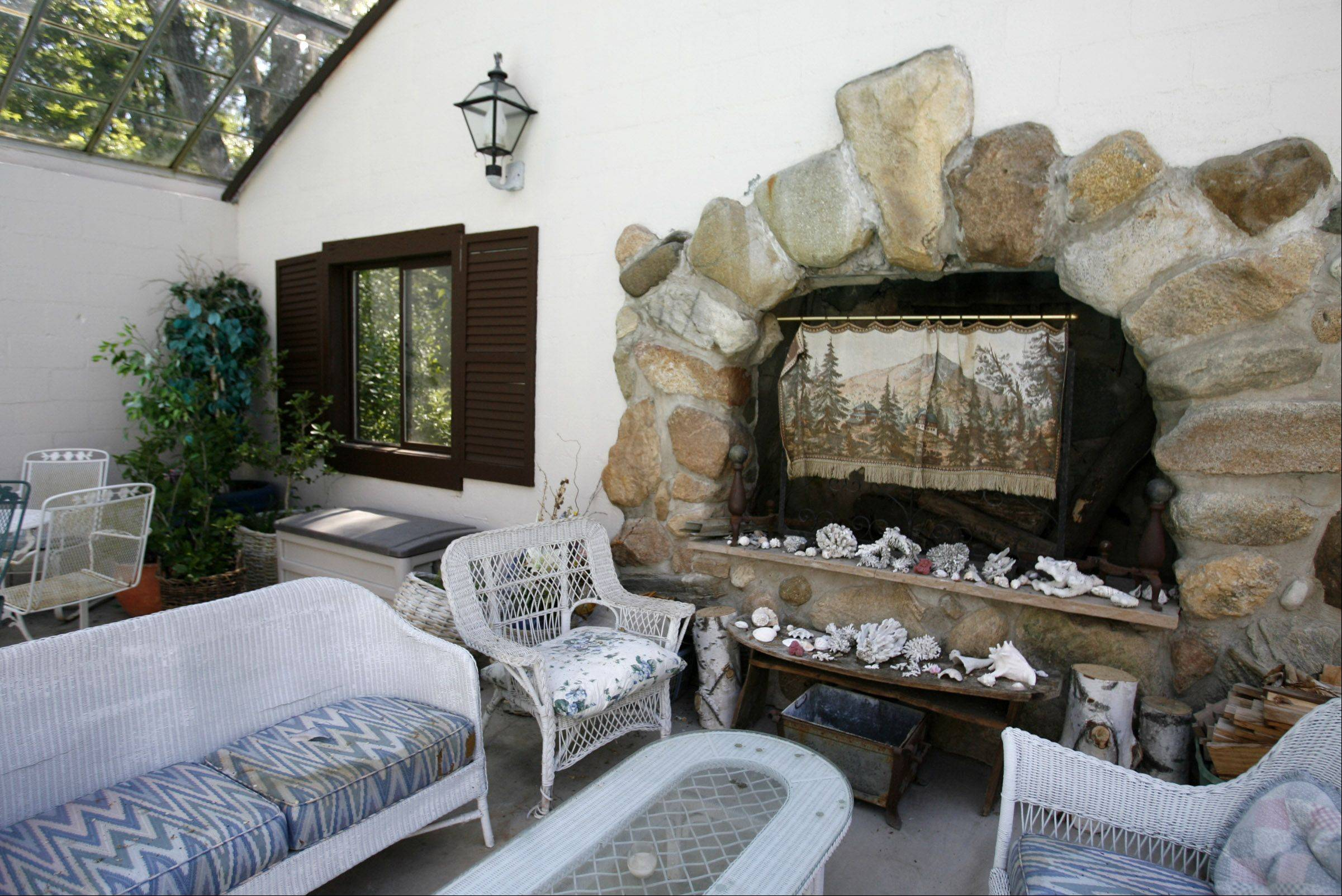 Orville Held built stone fireplaces in his house, including this one in the swimming pool room.