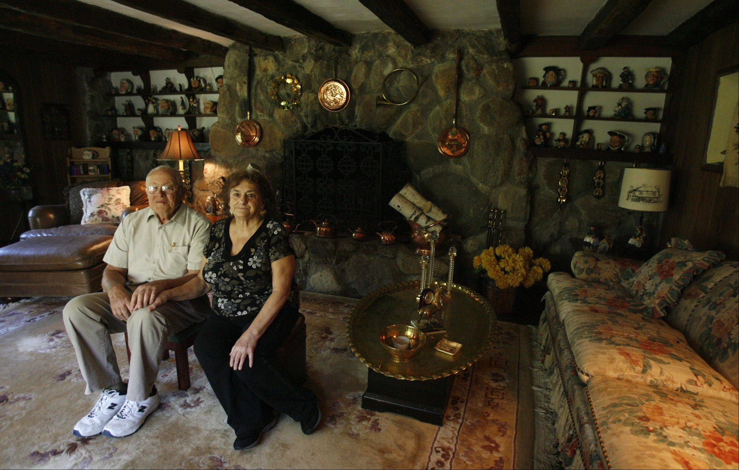 Kenneth and Patricia Rockett sit in one of the original rooms of their Long Grove home.