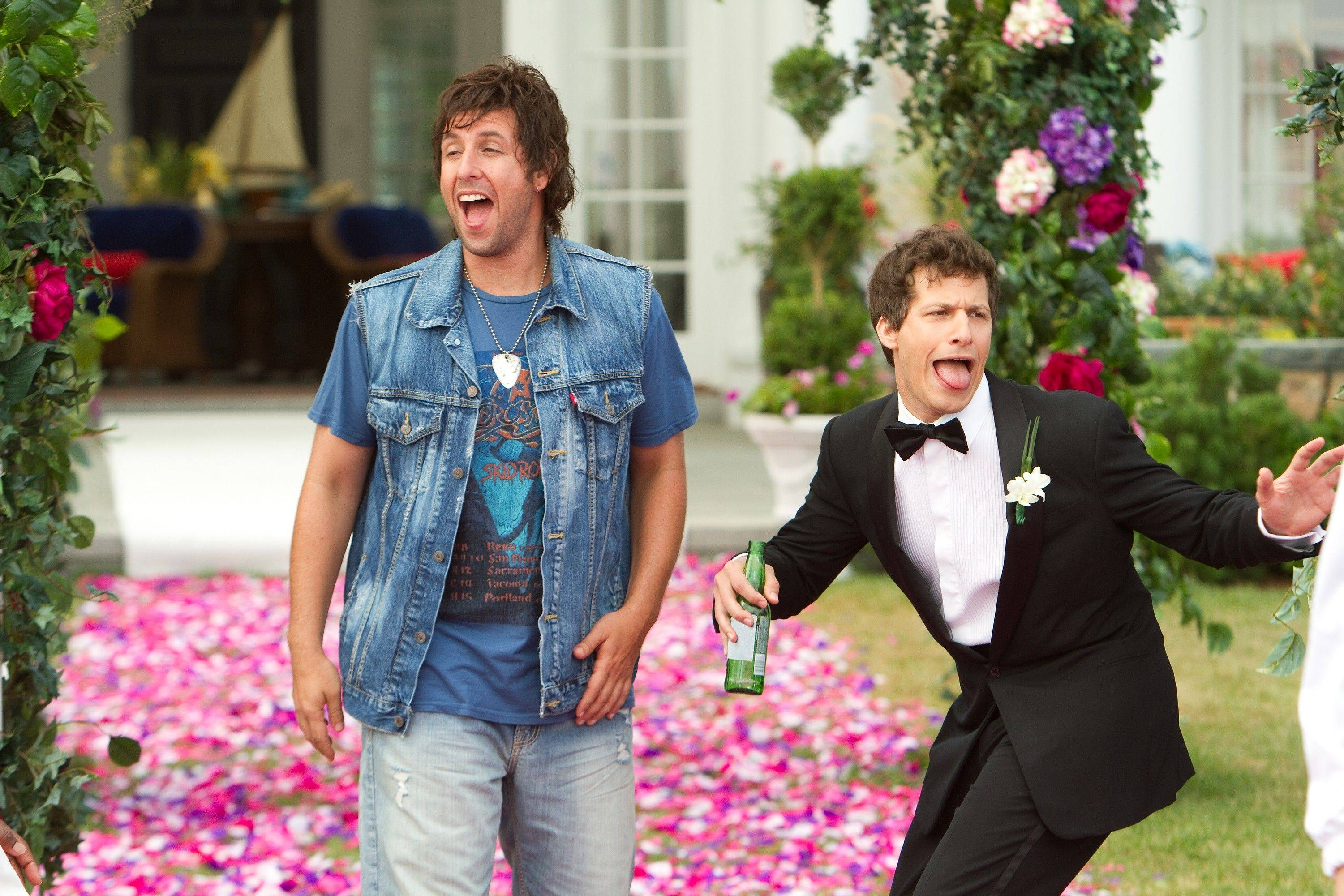 "This film image released by Columbia Pictures shows Adam Sandler, left, and Andy Samberg in a scene from ""That's My Boy,"" which debuted at No. 5 at the box office this weekend."
