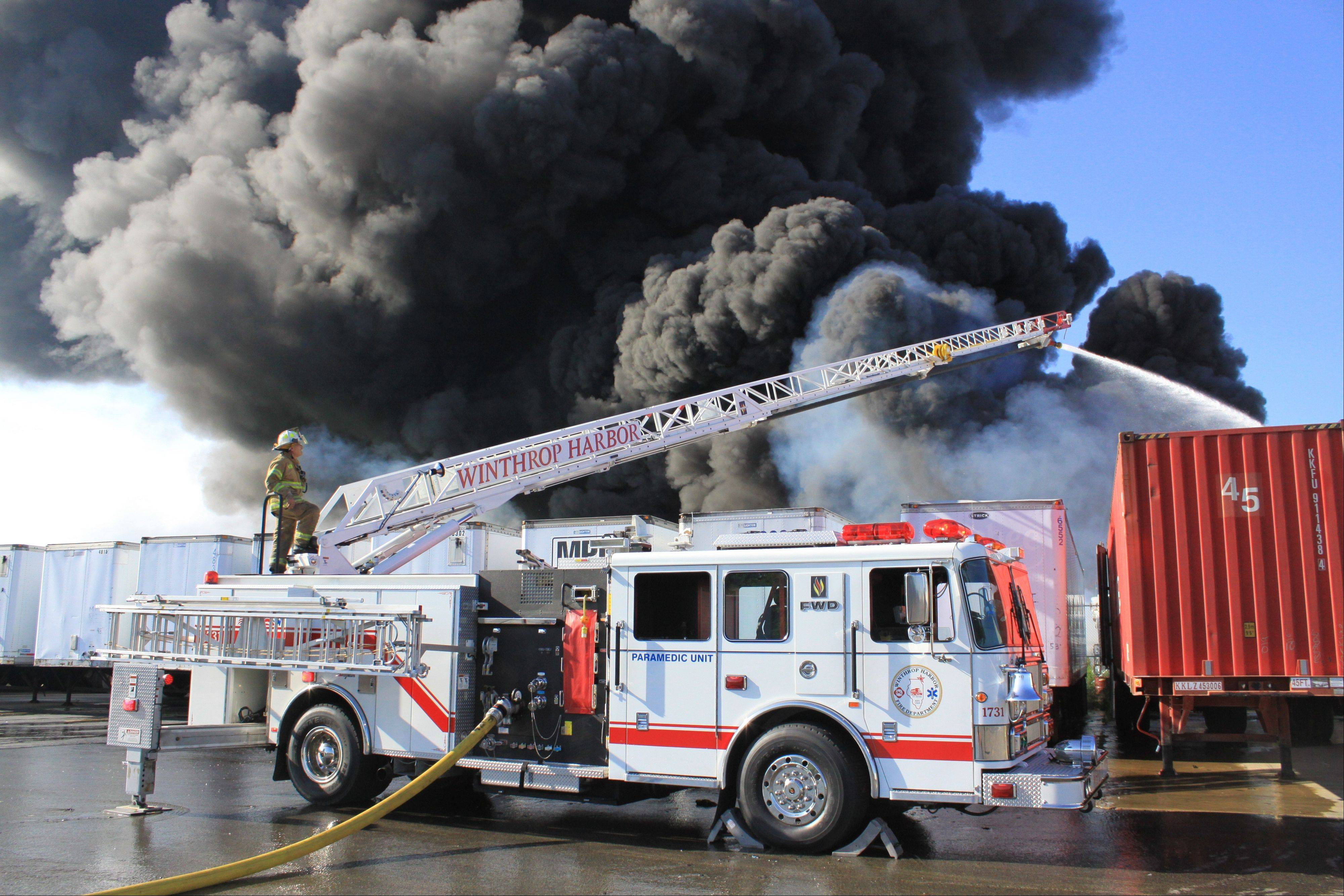 More than 100 firefighters spent most of Sunday fighting a blaze outside Maine Plastics, 1817 Kenosha Road in Zion.