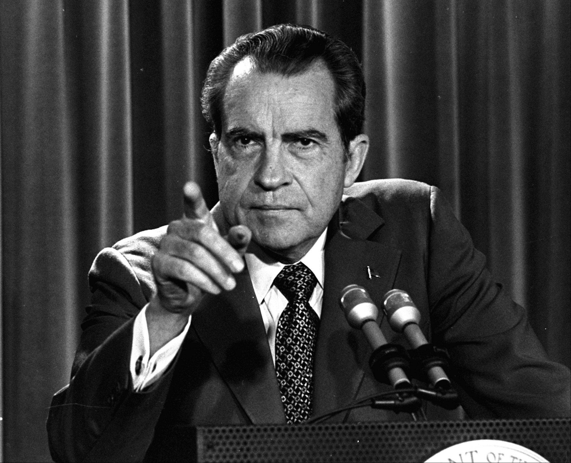 In this March 15, 1973, file photo, President Nixon tells a White House news conference that he will not allow his legal counsel, John Dean, to testify on Capitol Hill in the Watergate investigation and challenged the Senate to test him in the Supreme Court. A feisty Nixon defended his shredded legacy and Watergate-era actions in grand jury testimony that he thought would never come out. On Thursday, Nov. 10, 2011, it did.