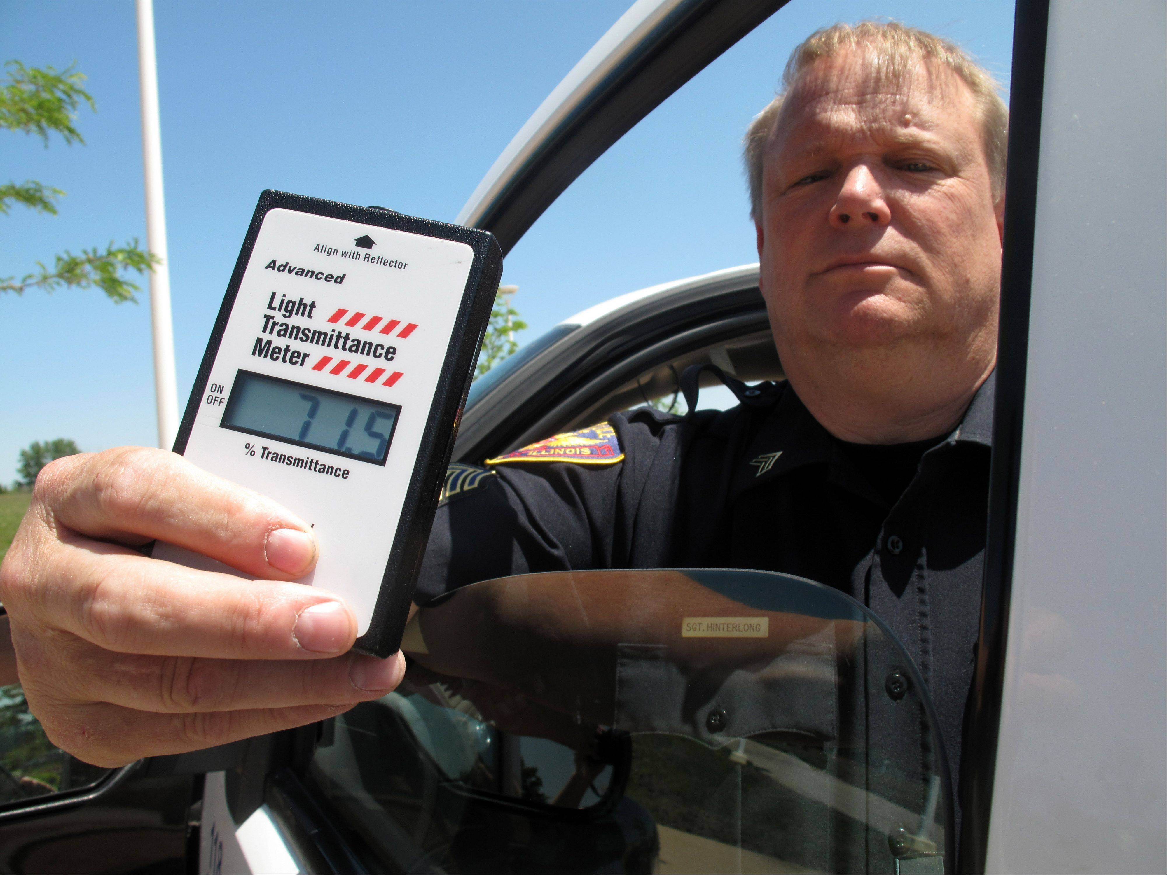 Aurora police use a light transmittance meter to determine the percentage of light that can shine through car windows. The measurement determines if a vehicle's windows comply with state standards regulating the appropriate amount of tint.