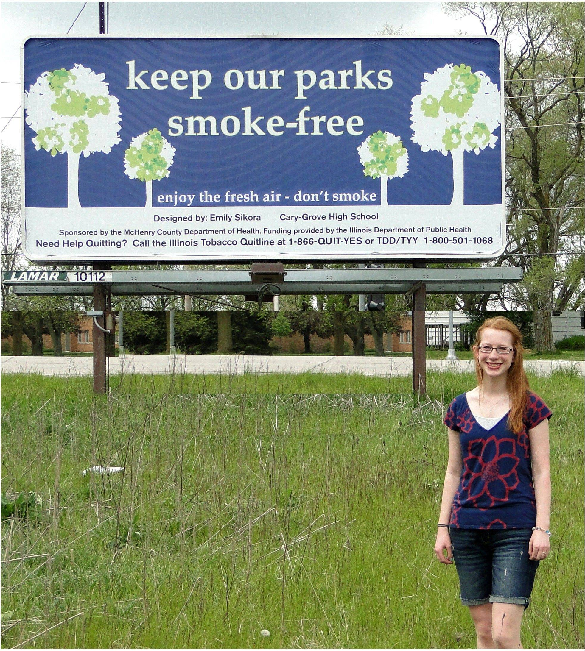 "Emily Sikora's winning design, ""Keep Our Parks Smoke-free,"" is displayed on a local billboard."
