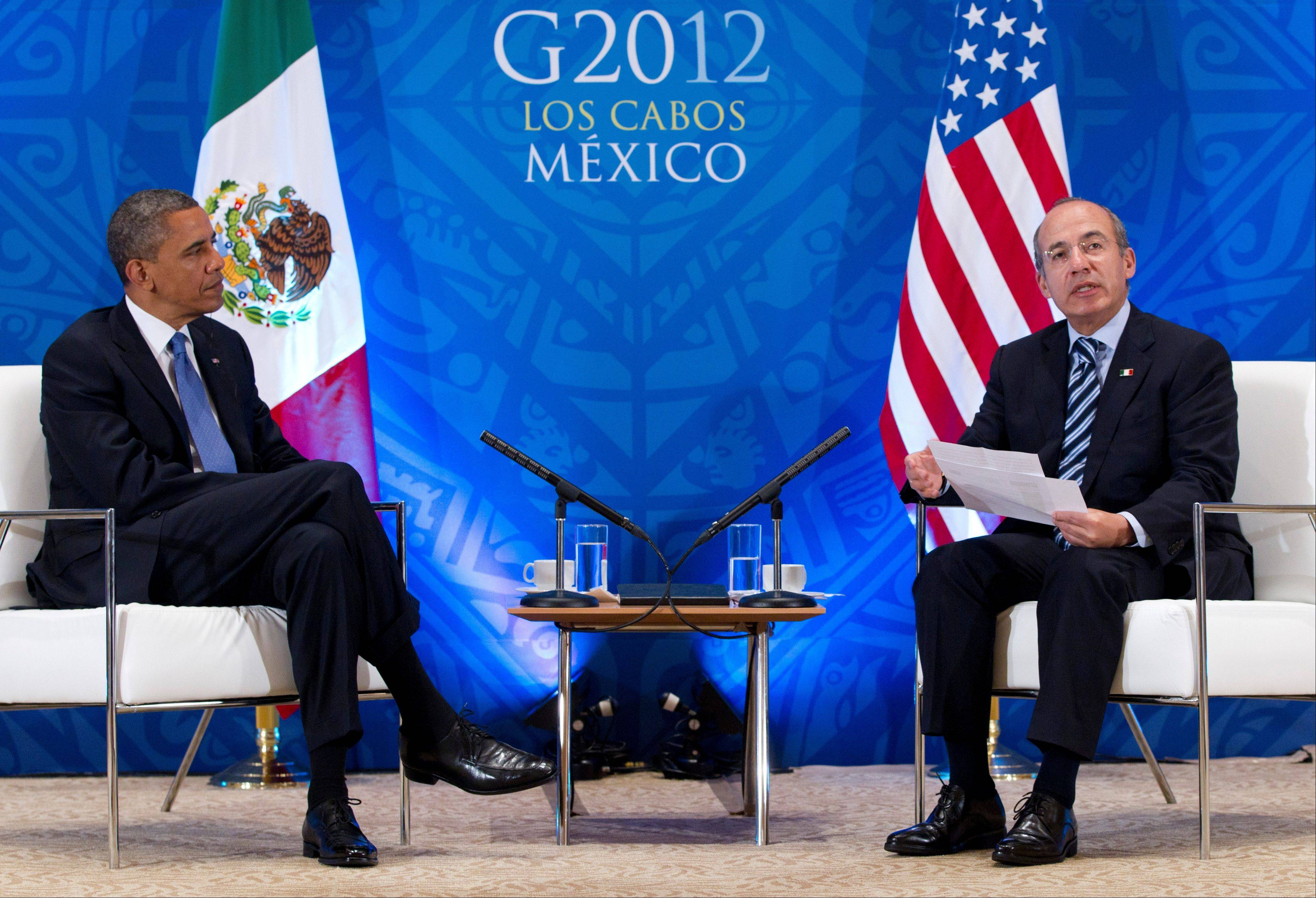 President Barack Obama attends a bilateral meeting with Mexico�s President Felipe Calderon during the G20 Summit Monday in Los Cabos, Mexico.
