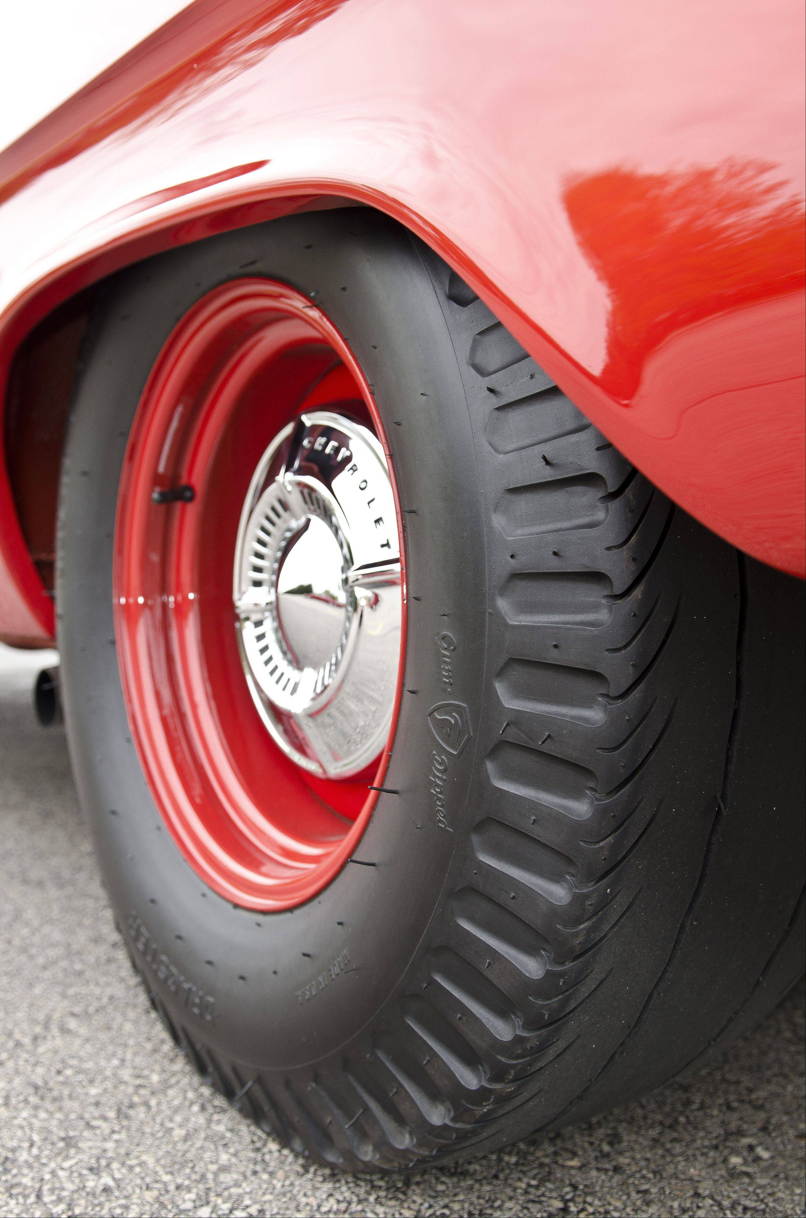 """Cheater slick"" tires have a minimum amount of tread to remain street legal, and were nicknamed ""pie crusts"" because of the indentations around the edge."