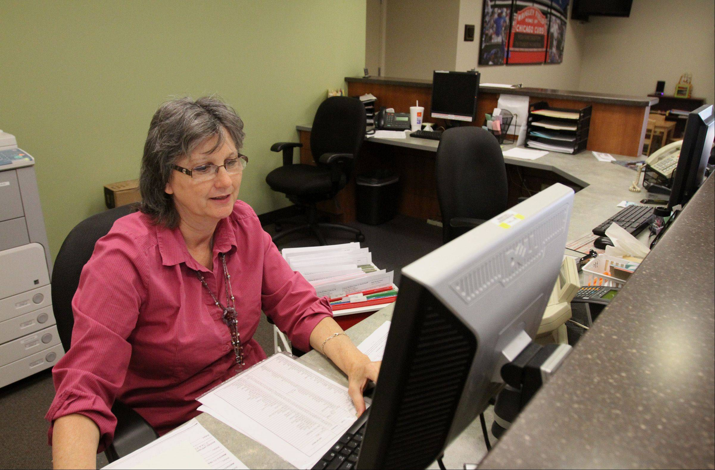 Judy Jackowiak is the receptionist at the Alexian Brothers Center for Mental Health in Arlington Heights.