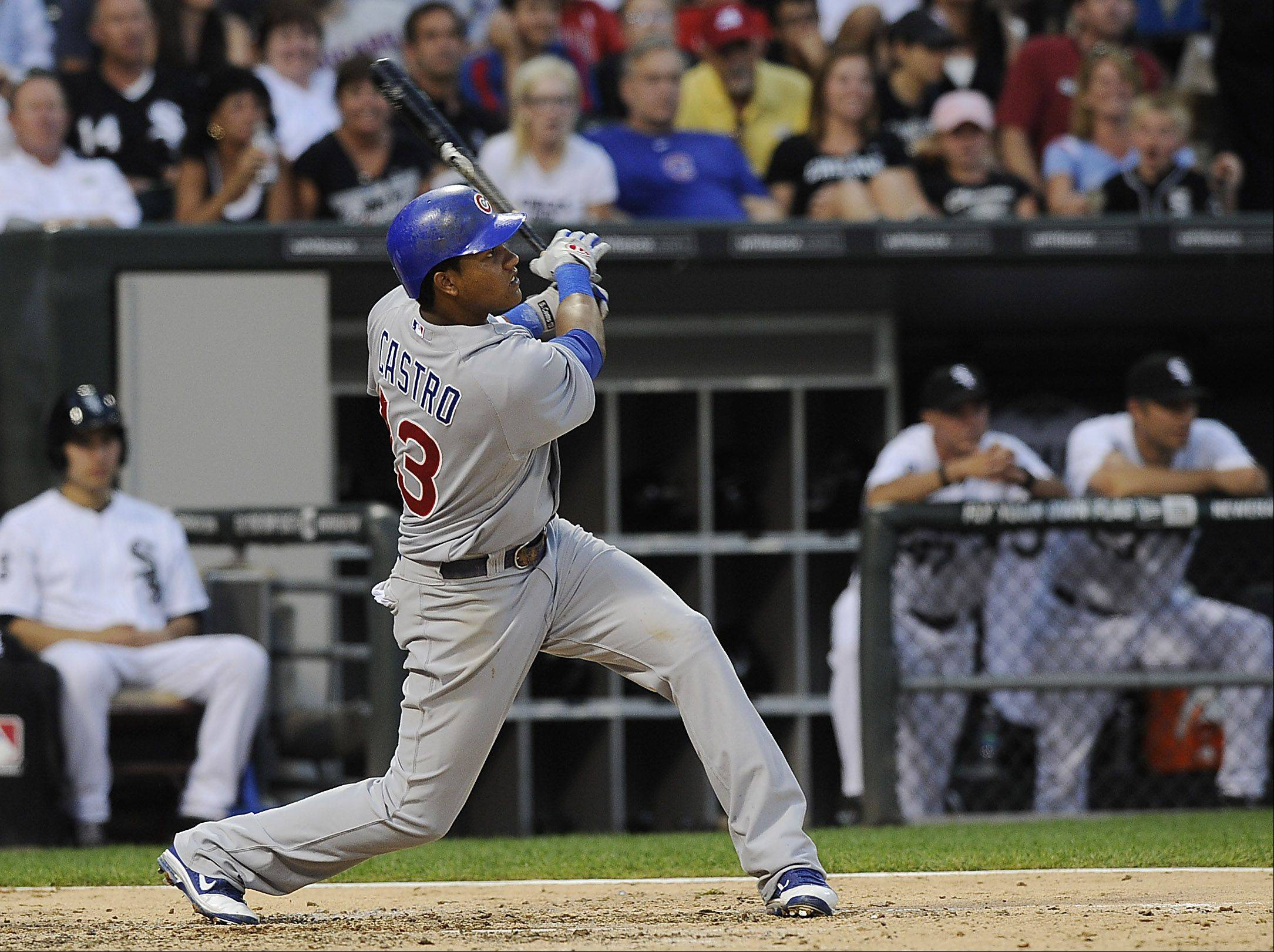 Chicago Cubs' Starlin Castro hits a fifth inning home run.