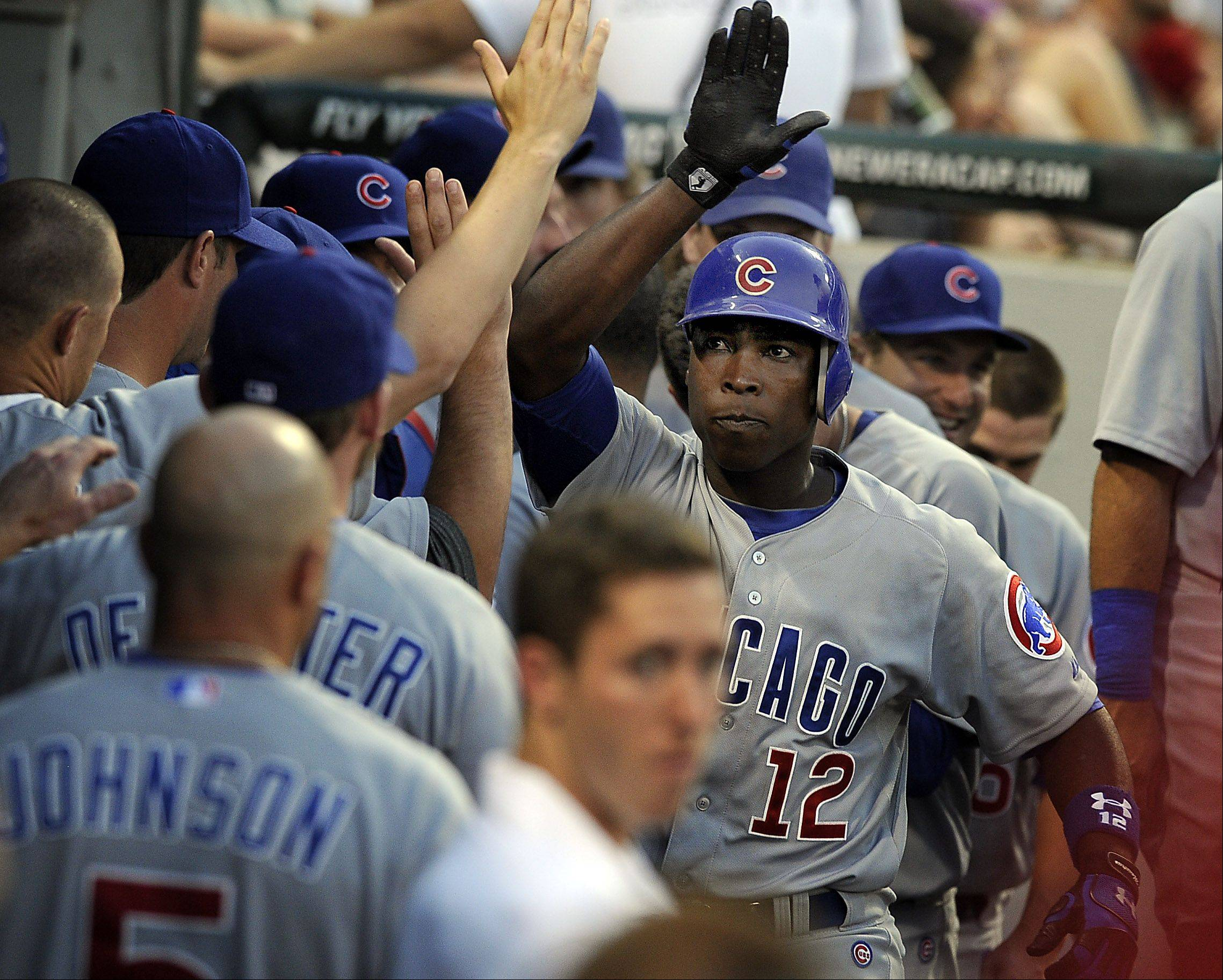 Chicago Cubs' Alfonso Soriano slugs a fifth inning home run.
