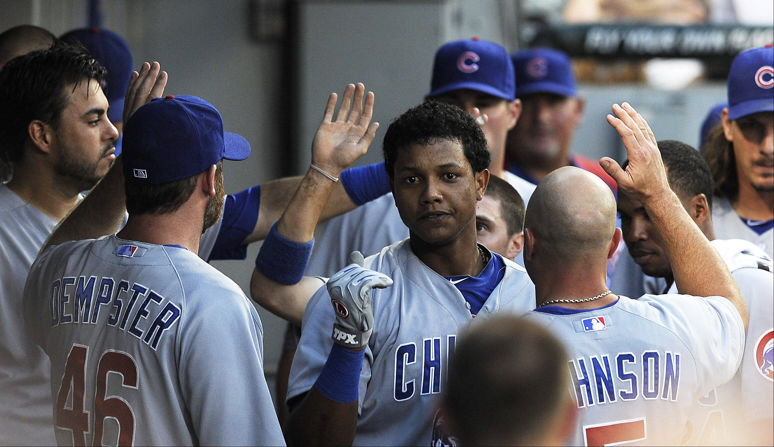 Chicago Cubs' Starlin Castro clubs his fifth inning home run.