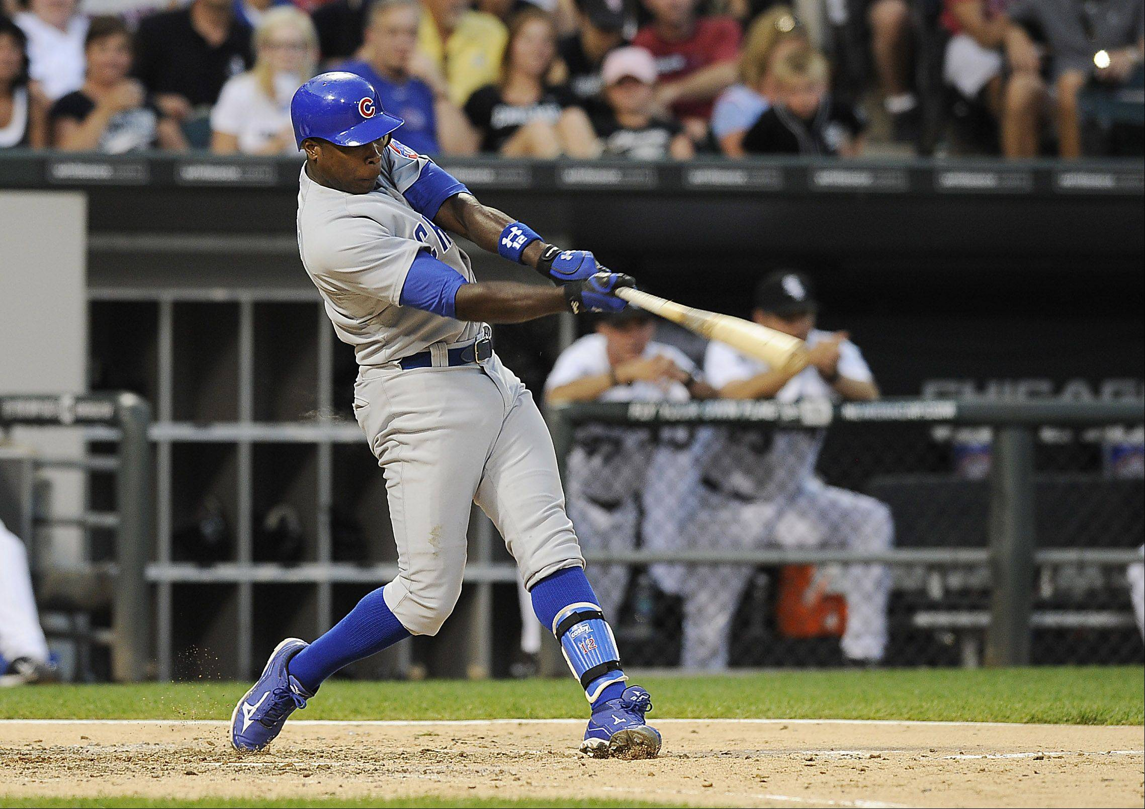 Chicago Cubs' Alfonso Soriano hits a fifth inning home run.