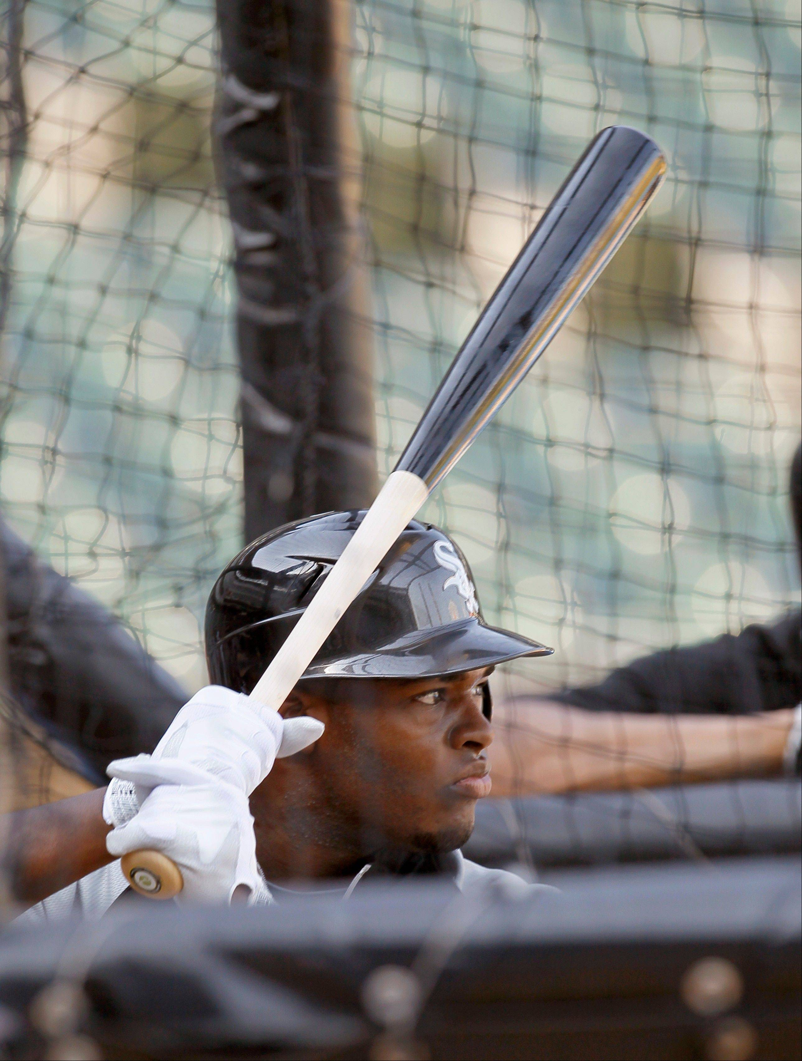 White Sox first-round draft pick outfielder Courtney Hawkins, from Carroll High School in Corpus Christi, Texas, participates in batting practice before Monday's game against the Cubs.