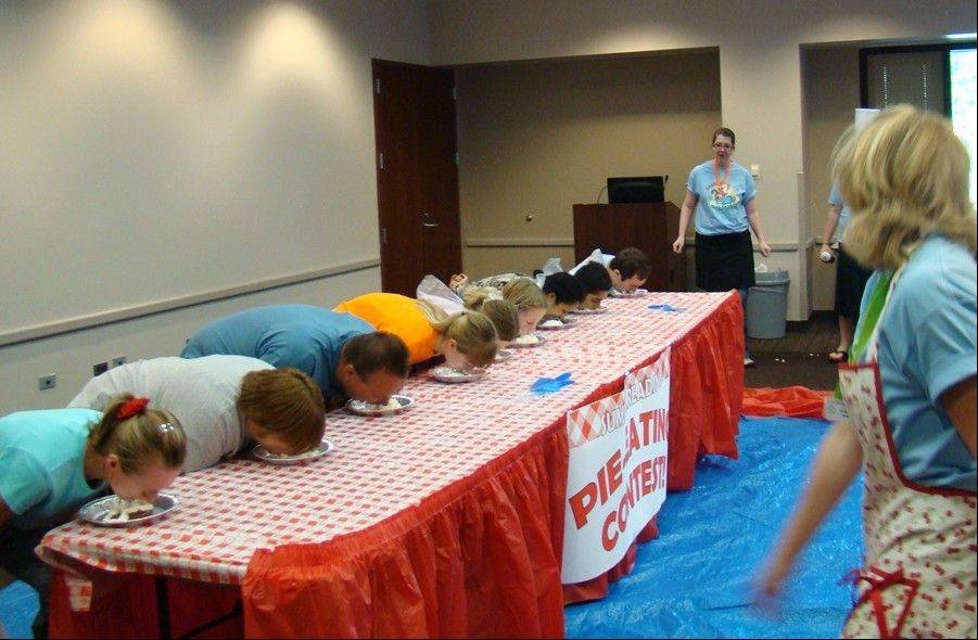A pie-eating contest was one of the fun activities patrons participated in at the kickoff celebration for Summer Reading at the Palatine Library on Saturday, June 2.