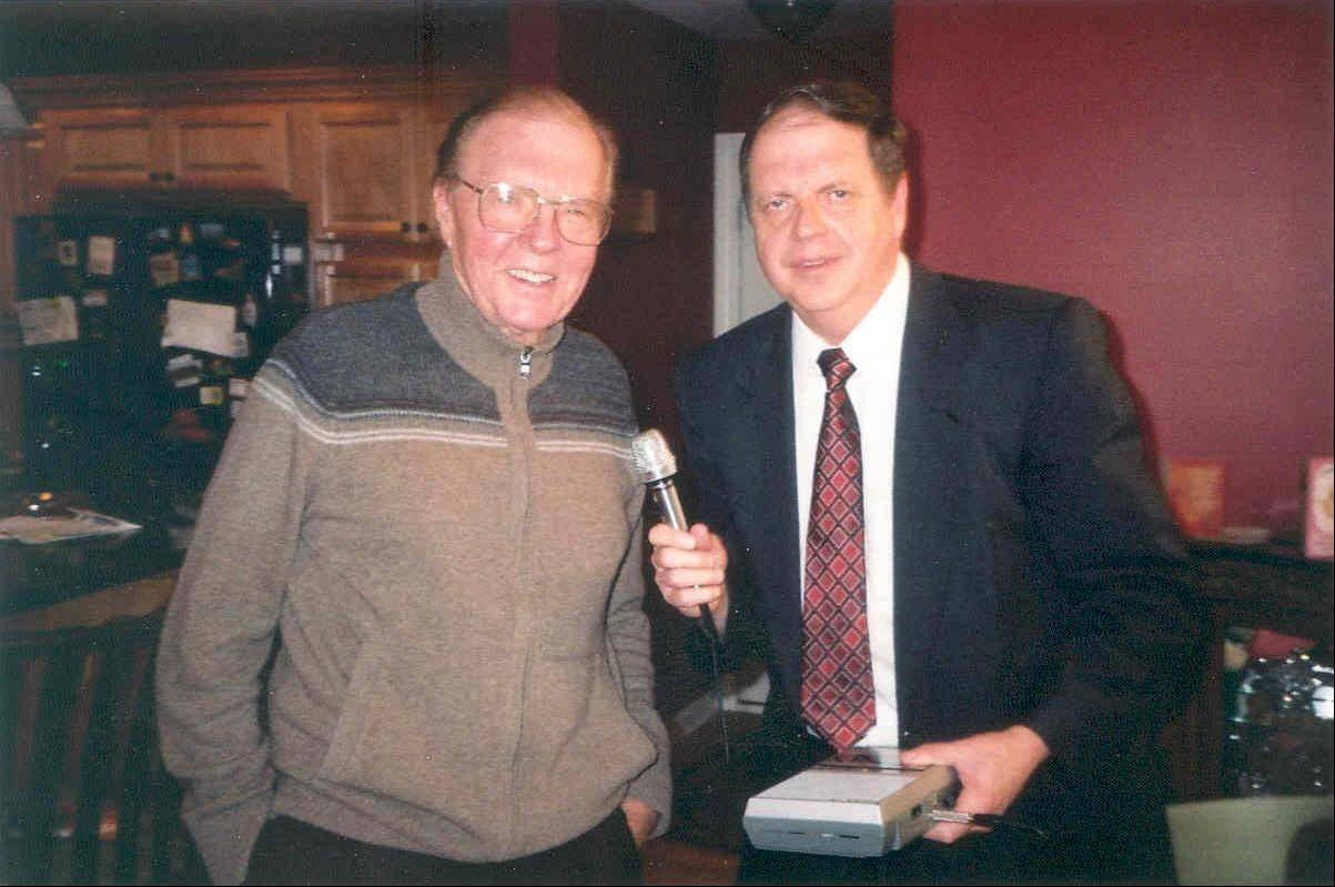 "Jack Taylor, left, poses with John Russell Ghrist, host of the College of DuPage radio station's Midwest Ballroom show. Ghrist taped hours of interviews with Taylor earlier this year, and excerpts of them are being broadcast in a new ""A Few Minutes with Jack Taylor"" segment."