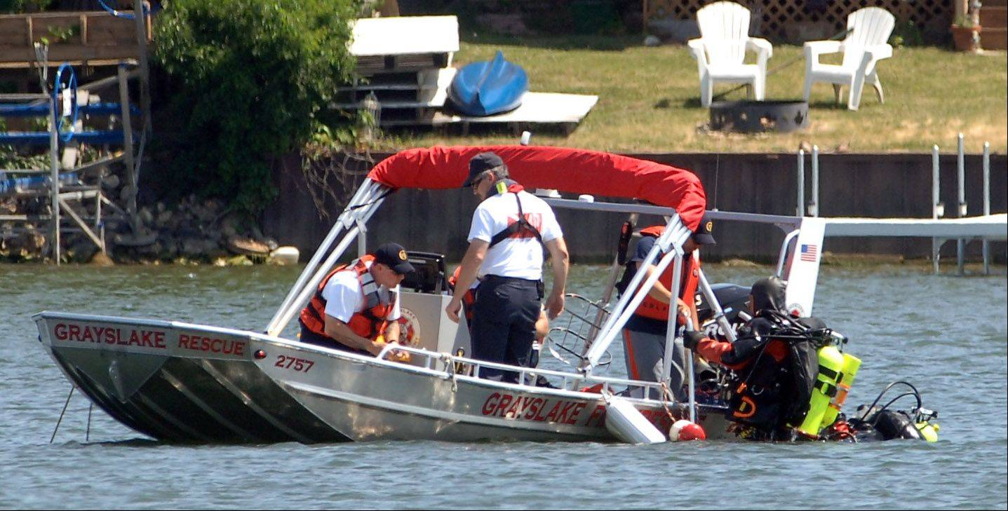 Divers search for a 44-year-old man who was reported missing on Gages Lake on Tuesday.