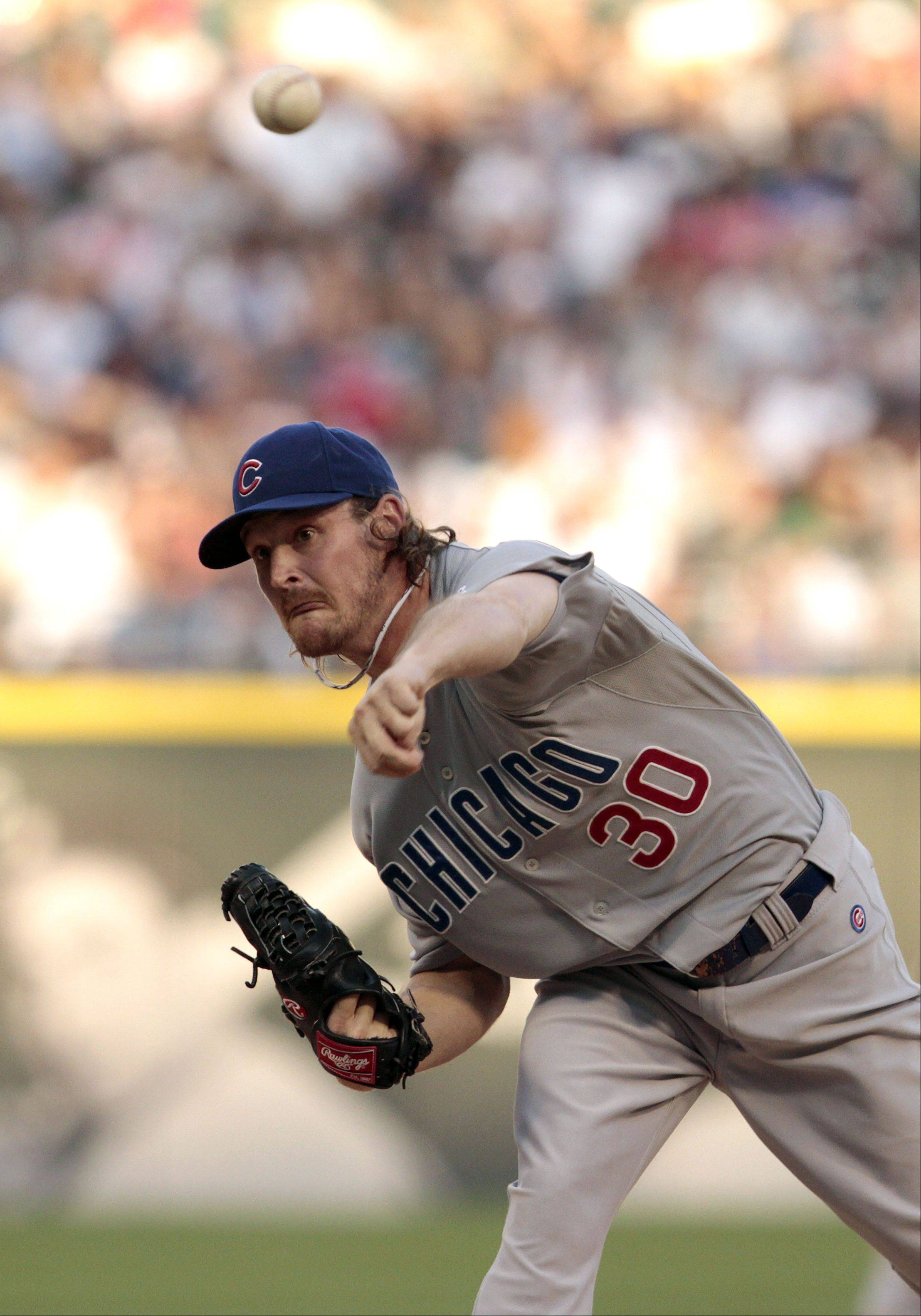 Chicago Cubs' Travis Wood delivers.